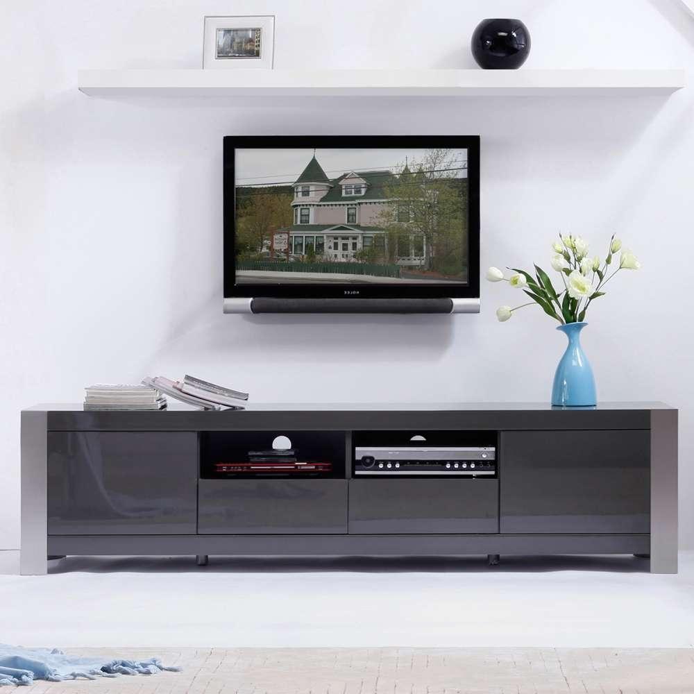 """B Modern Bm 100 Gry Composer 79"""" Contemporary Tv Stand In High Inside Contemporary Tv Stands (View 3 of 15)"""