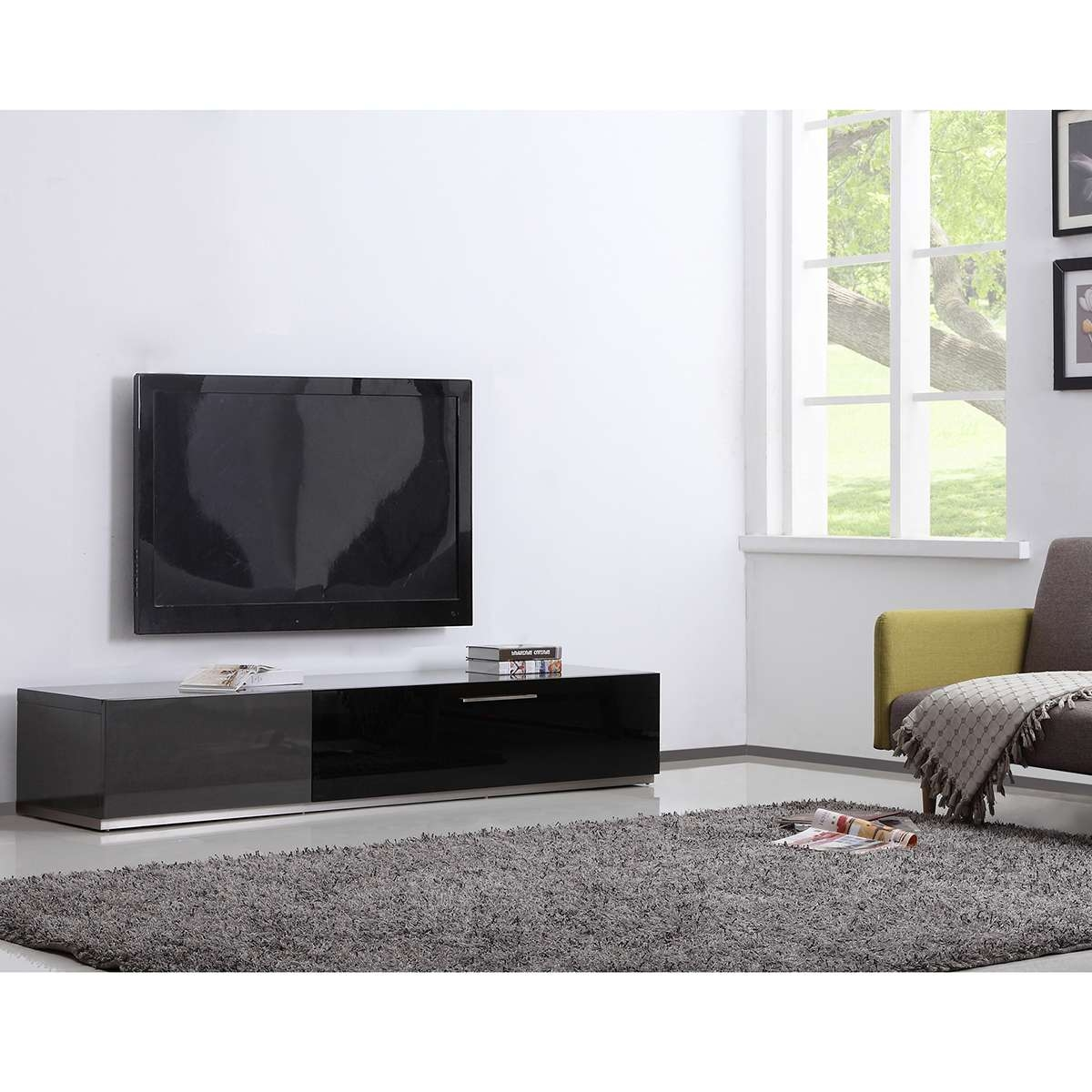 "B Modern Bm 150 Gry Producer 80"" Contemporary Tv Stand In Grey Throughout Modern Contemporary Tv Stands (View 7 of 20)"