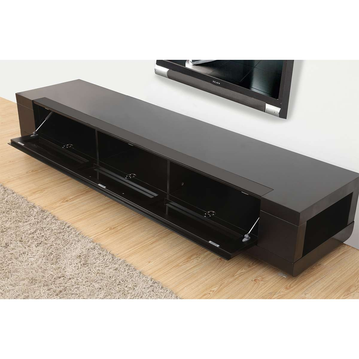 """B Modern Bm 632 Blk Editor Remix 79"""" Contemporary Tv Stand In For Modern Black Tv Stands (View 4 of 20)"""