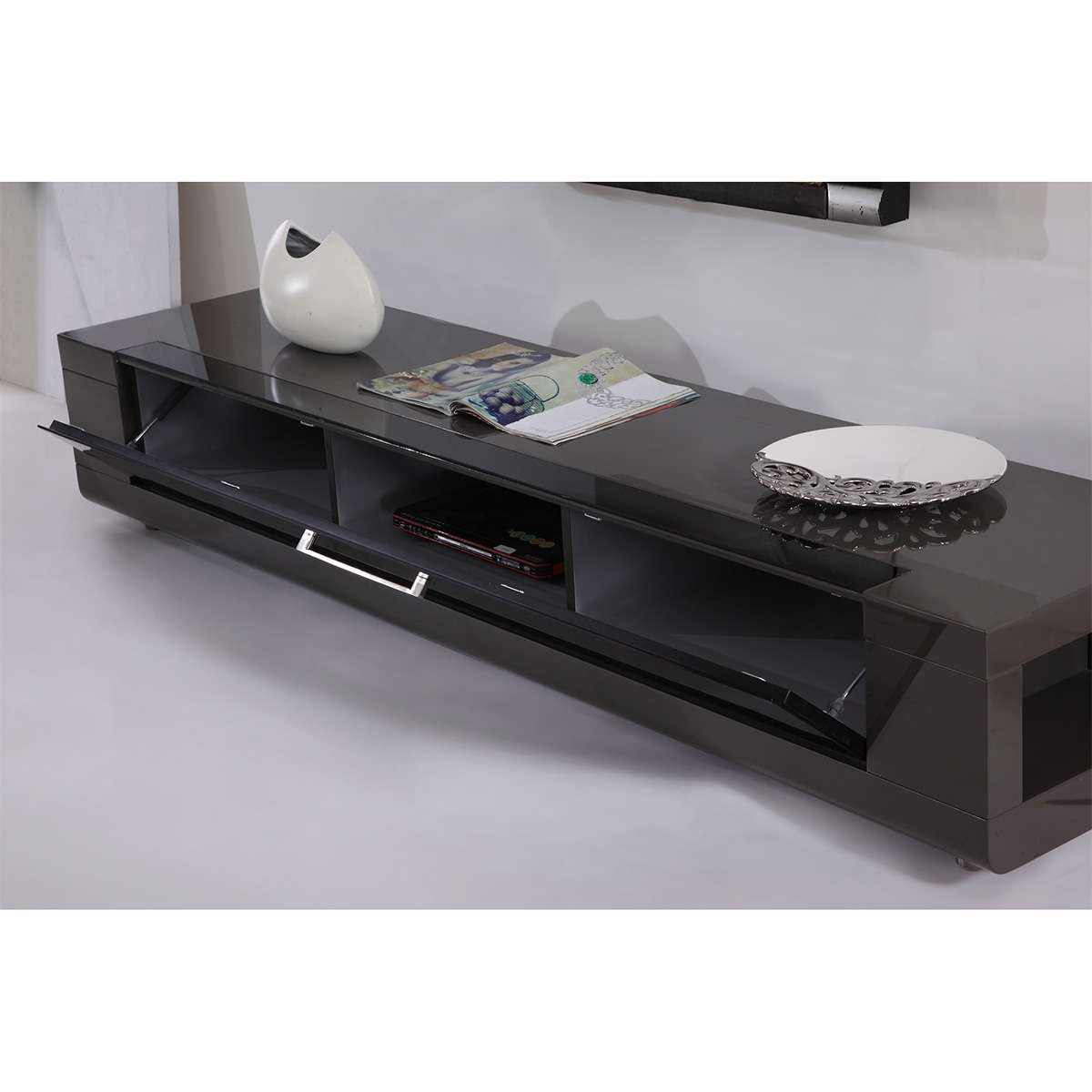 "B Modern Bm 632 Gry Editor Remix 79"" Contemporary Tv Stand In High Pertaining To Glass Front Tv Stands (View 2 of 20)"