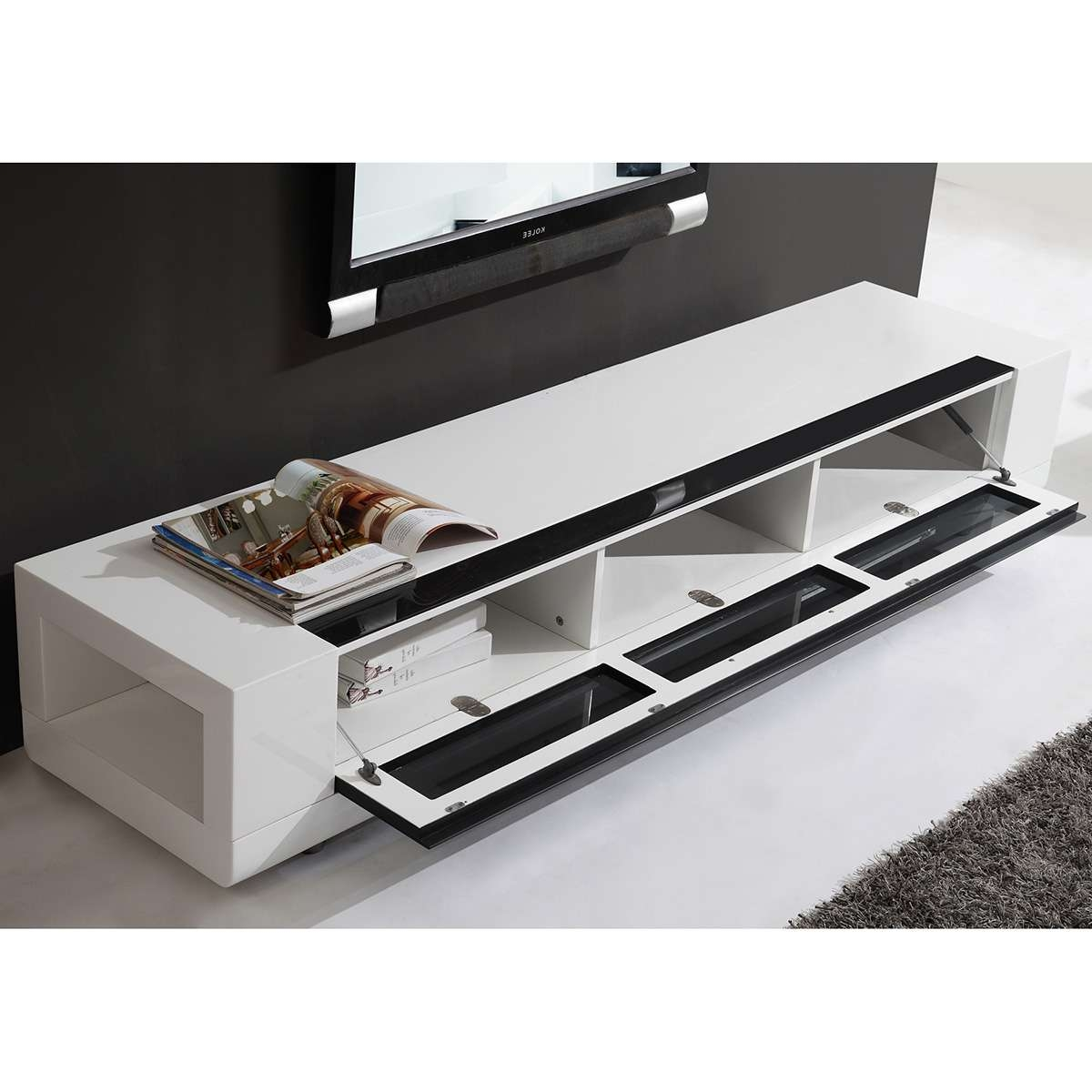 "B Modern Bm 632 Wht Editor Remix 79"" Contemporary Tv Stand In High Intended For B Modern Tv Stands (View 2 of 15)"