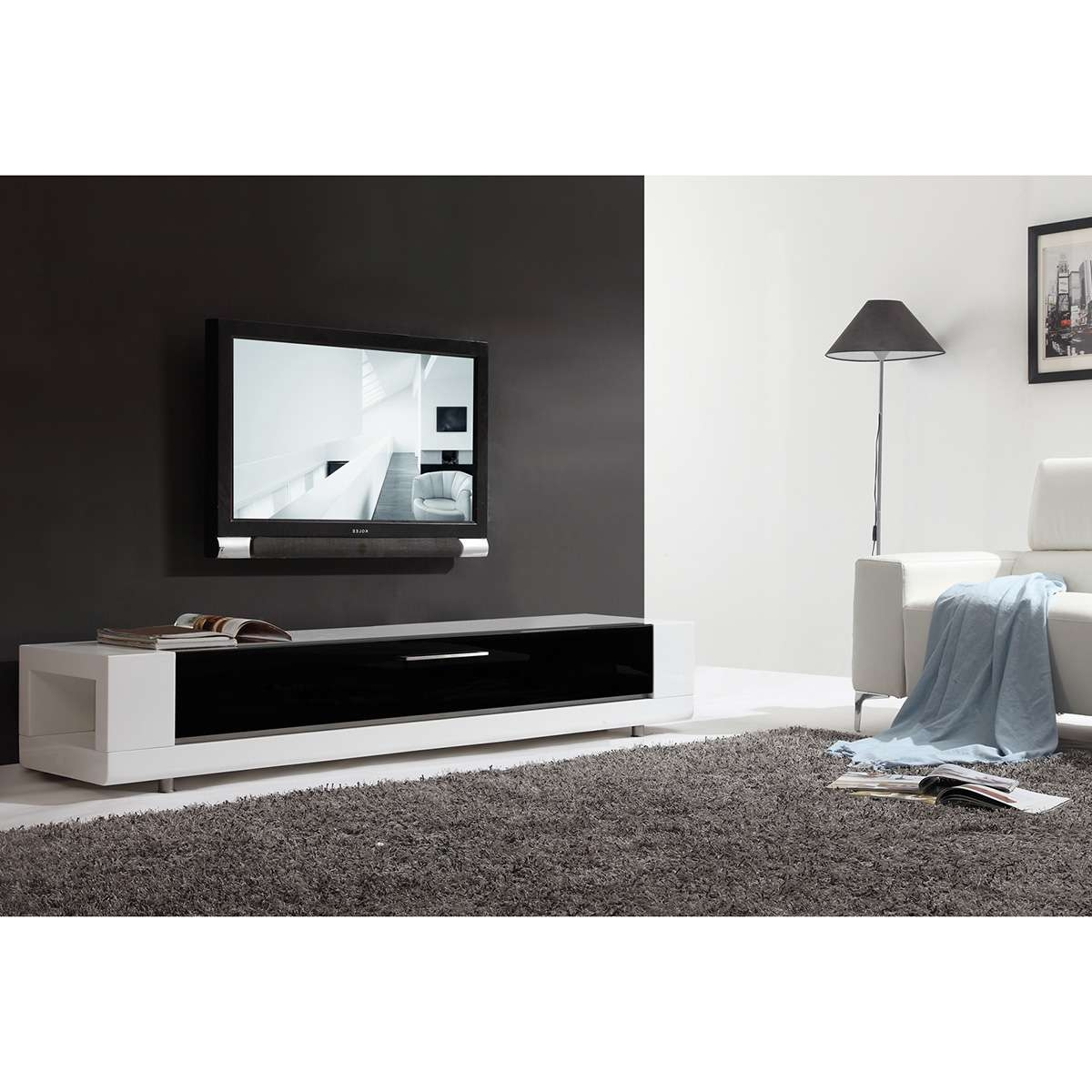 "B Modern Bm 632 Wht Editor Remix 79"" Contemporary Tv Stand In High Throughout Glass Front Tv Stands (View 3 of 20)"