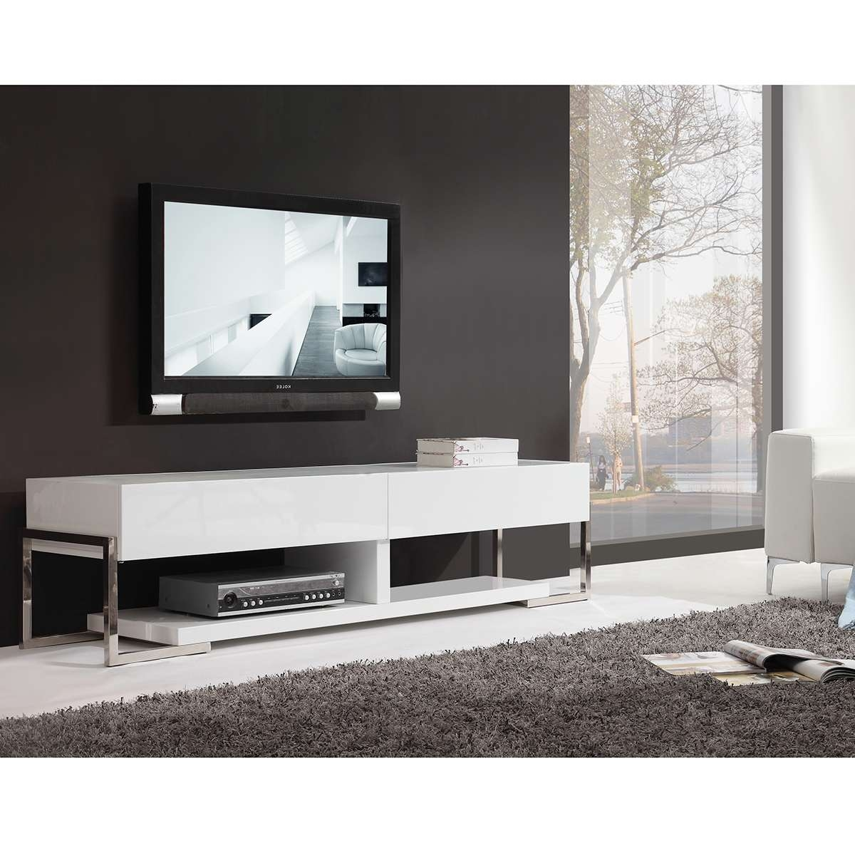 """B Modern Bm 650 Awht Agent 71"""" Contemporary Tv Stand In White With Regard To Modern White Lacquer Tv Stands (View 2 of 15)"""