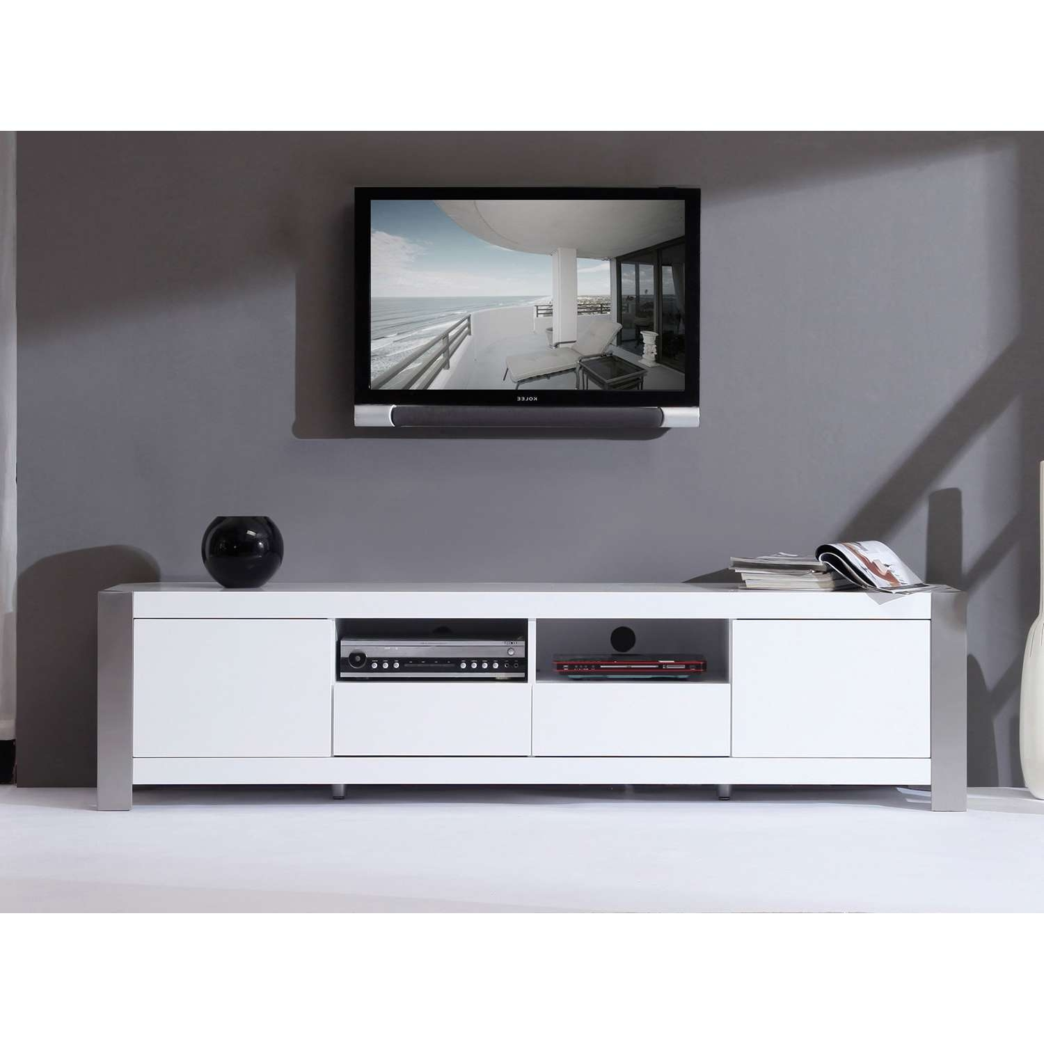 """B Modern Composer 79"""" High Gloss White Tv Stand – Bm 100 Wht 