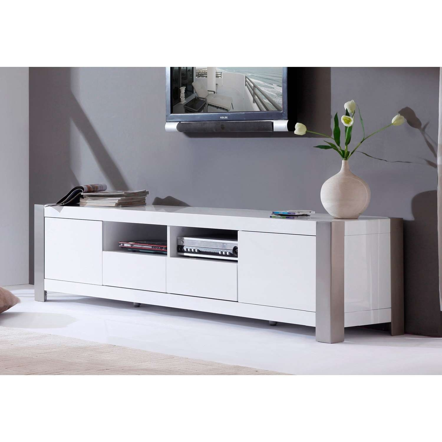 "B Modern Composer 79"" High Gloss White Tv Stand – Bm 100 Wht 