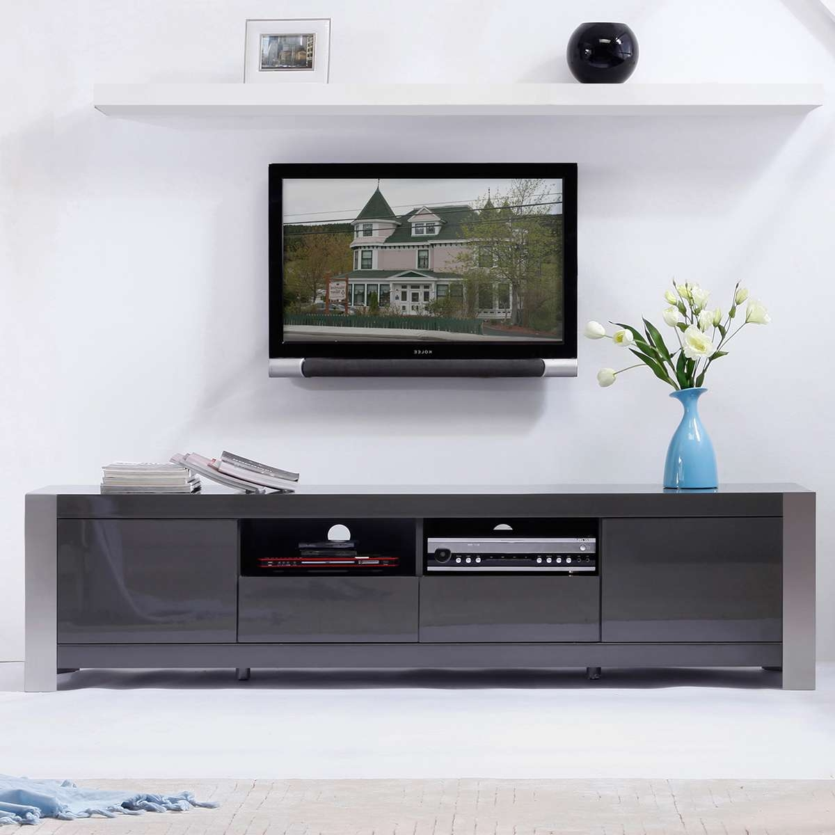 B Modern Minimalist Design Contemporary Tv Stands & Furniture At Regarding Modern White Lacquer Tv Stands (View 2 of 15)