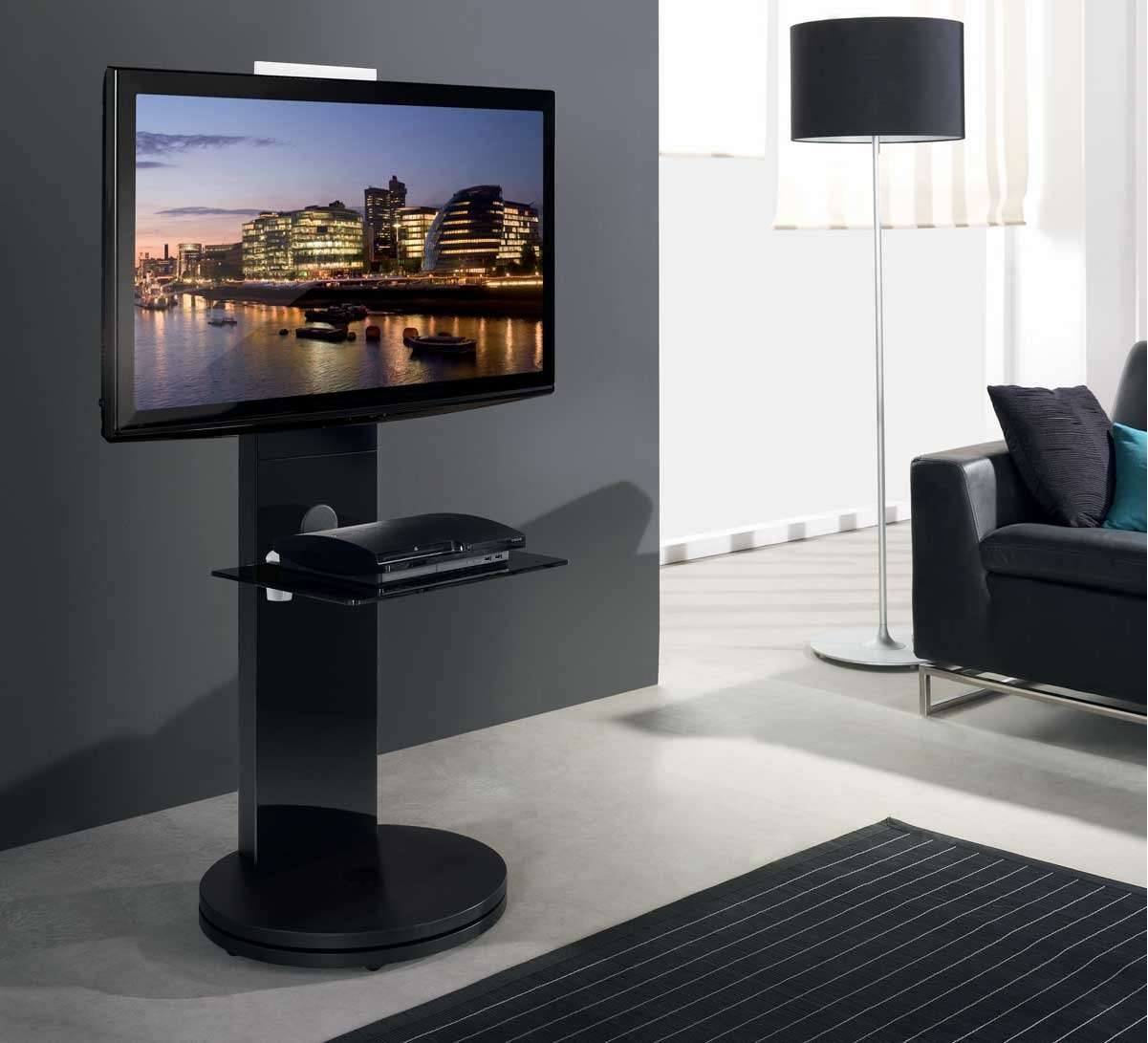B Tech Btf811 Black Corner Cantilever Tv Stand Regarding Cantilever Glass Tv Stands (View 5 of 20)