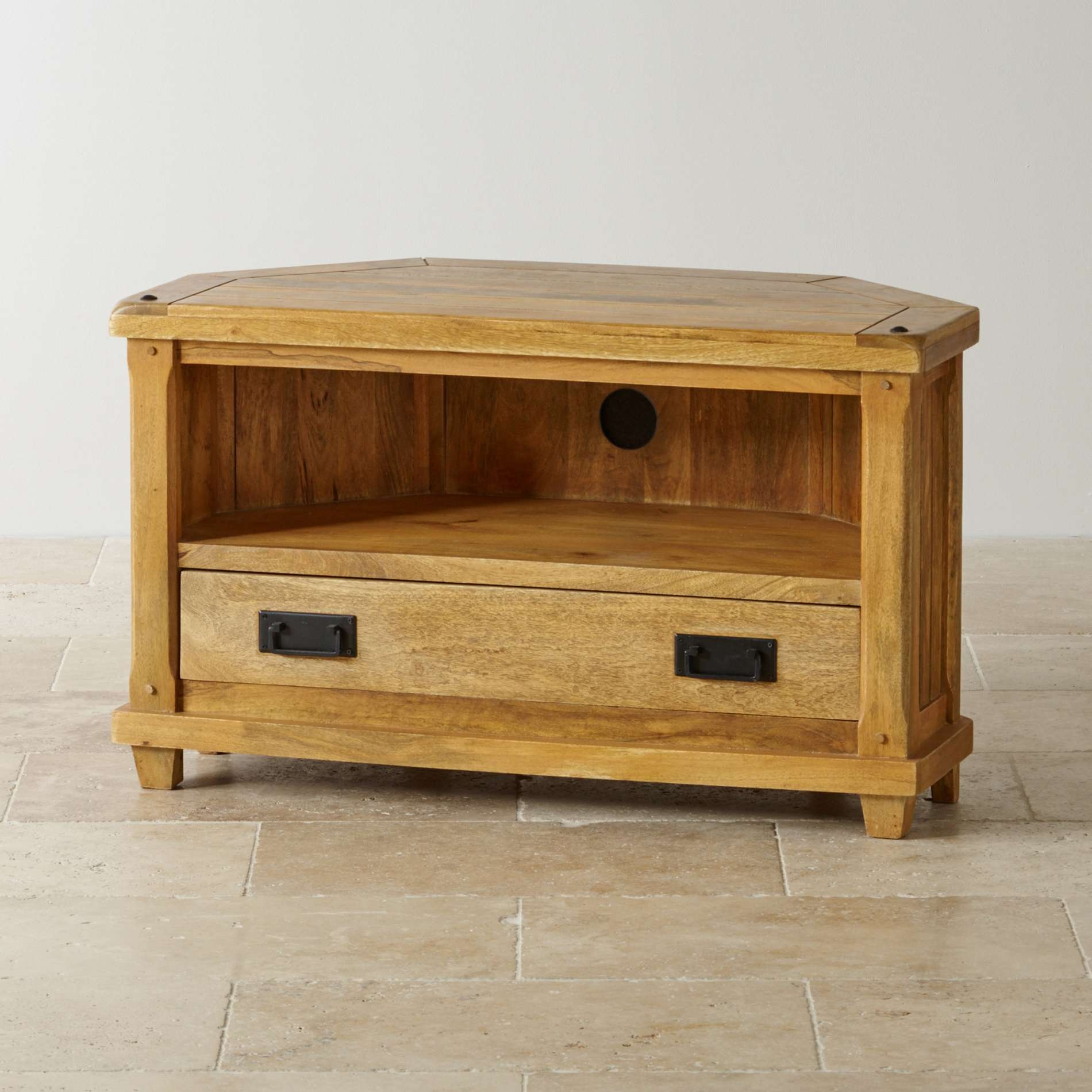Baku Light Corner Tv Cabinet In Natural Solid Mango With Rustic Corner Tv Cabinets (View 1 of 20)