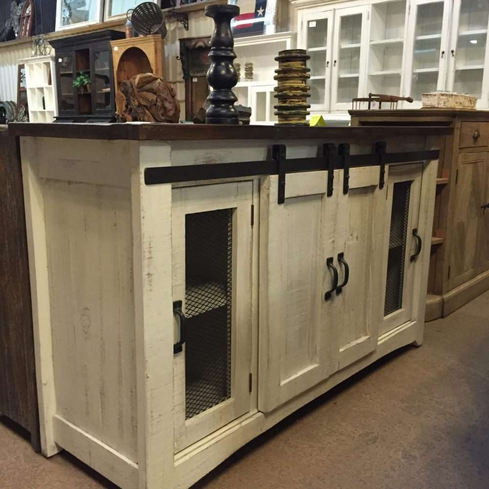 Barn Door Cabinet  Tv Stand White Distressed Brown Top | Rustic In White Rustic Tv Stands (View 5 of 15)