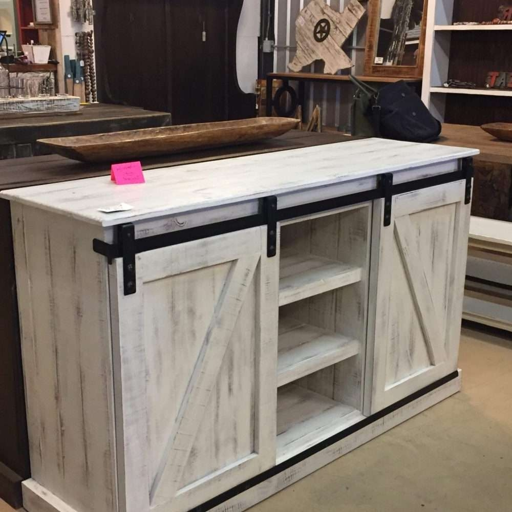 barn door cabinet tv stand white distressed rustic rarehouse throughout rustic white tv stands - Distressed White Tv Stands