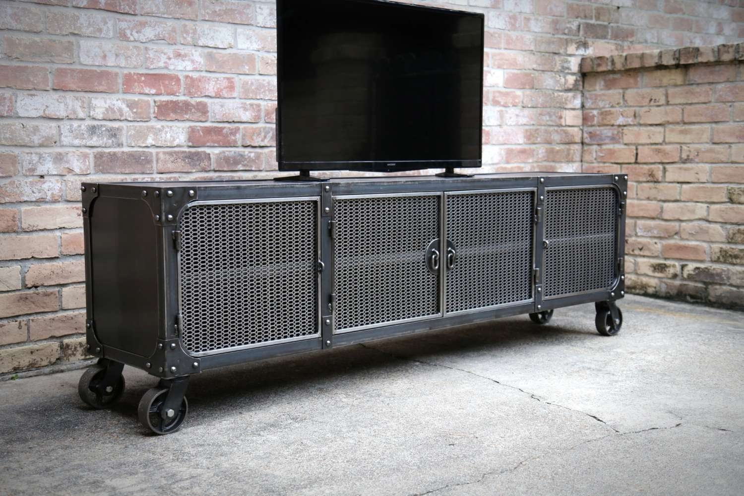 Barn Door Tv Stand Console Metal Vintage Industrial Cabinet In Vintage Industrial Tv Stands (View 1 of 15)