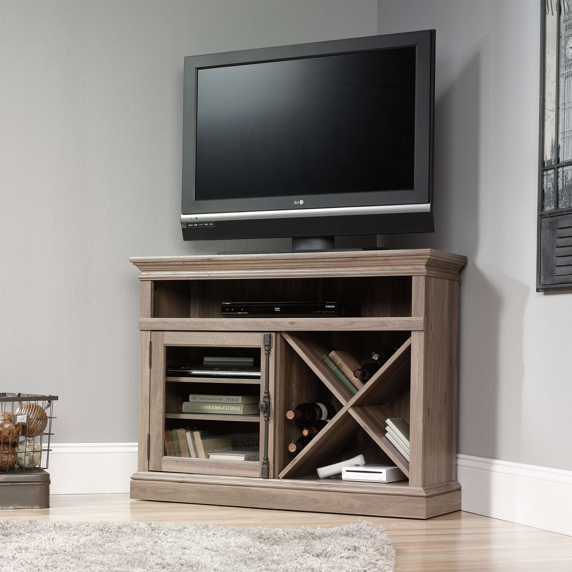 Barrister Lane | Corner Tv Stand | 414729 | Sauder Throughout Grey Corner Tv Stands (View 5 of 20)