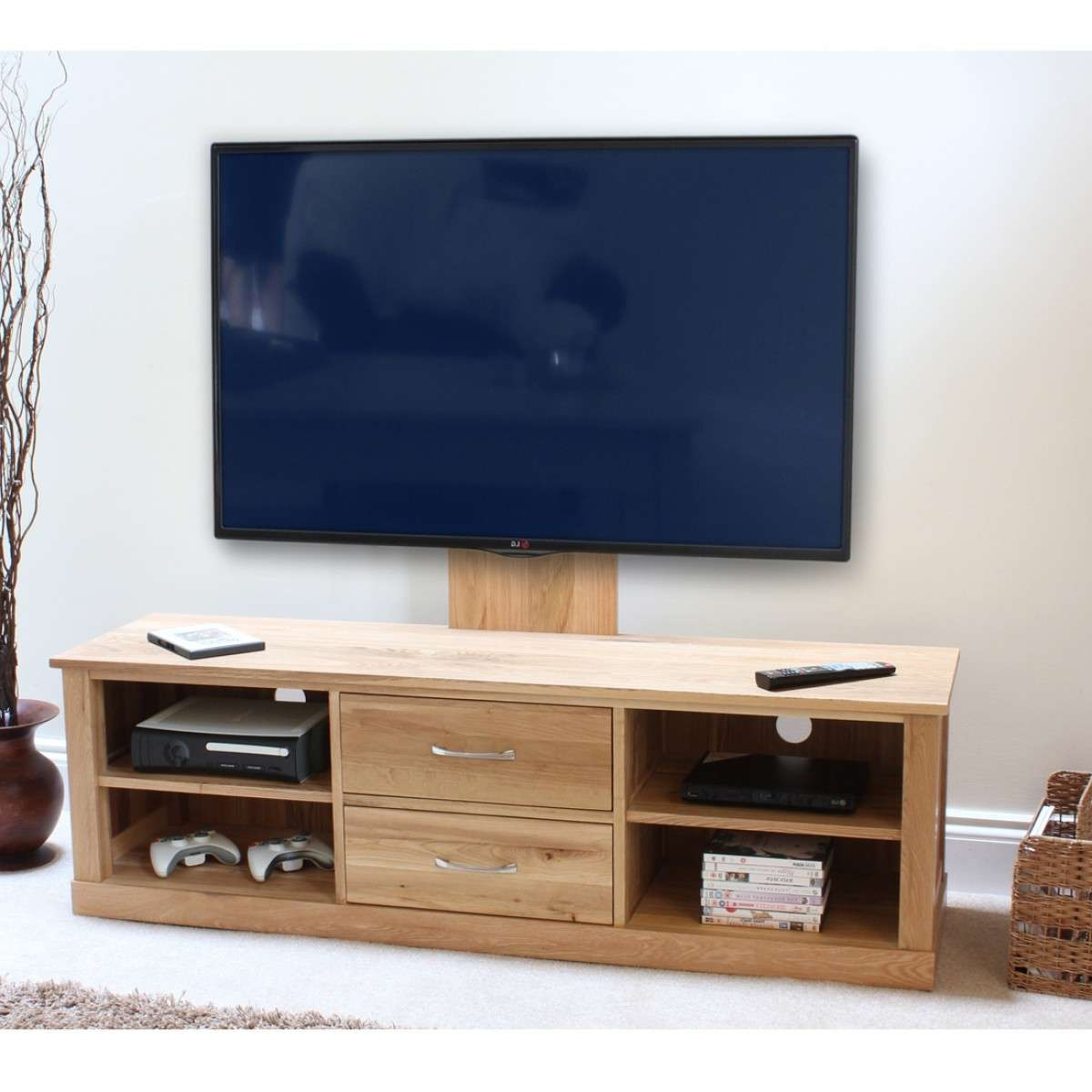 Baumhaus Mobel Oak Mounted Widescreen Tv Cabinet Cor09E For Widescreen Tv Cabinets (View 2 of 20)