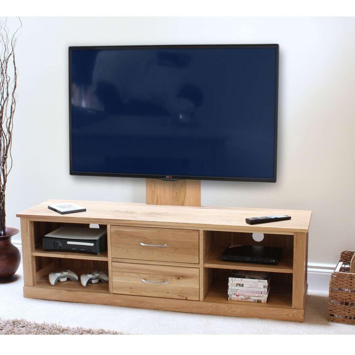 Baumhaus Mobel Oak Mounted Widescreen Tv Cabinet Cor09E For Widescreen Tv Cabinets (View 2 of 20)