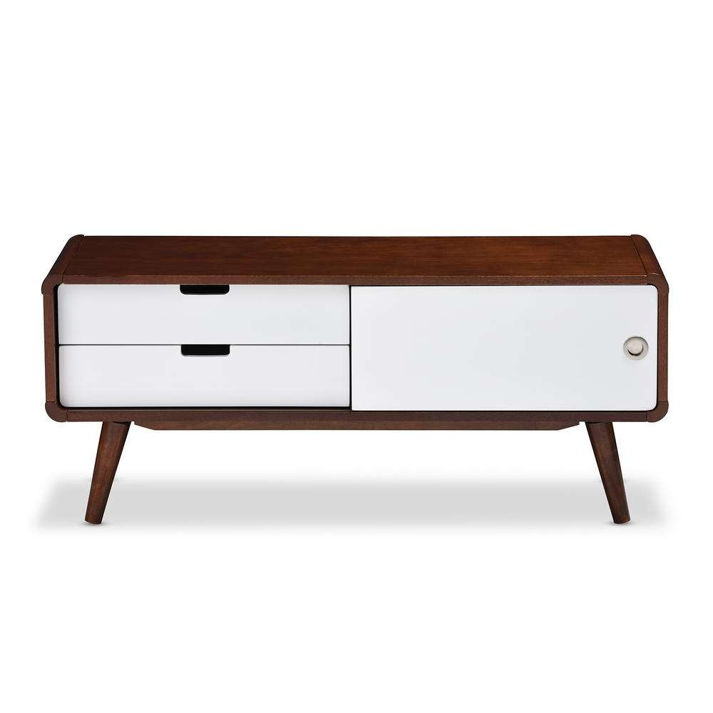 Baxton Studio Armani White And Medium Brown Wood Finished Wood Tv Regarding White Wooden Tv Stands (View 13 of 20)