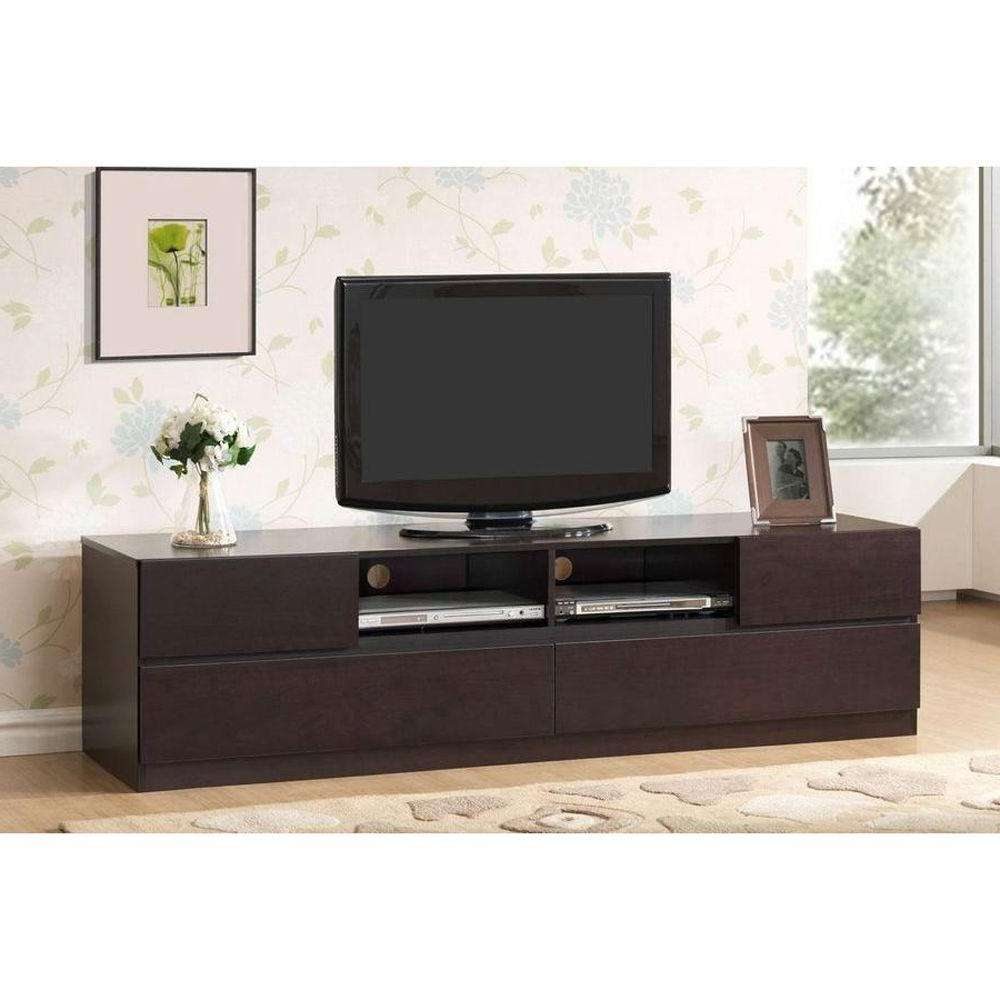 Baxton Studio Lovato Dark Brown Entertainment Center 28862 4126 Hd Pertaining To Dark Tv Stands (View 2 of 15)