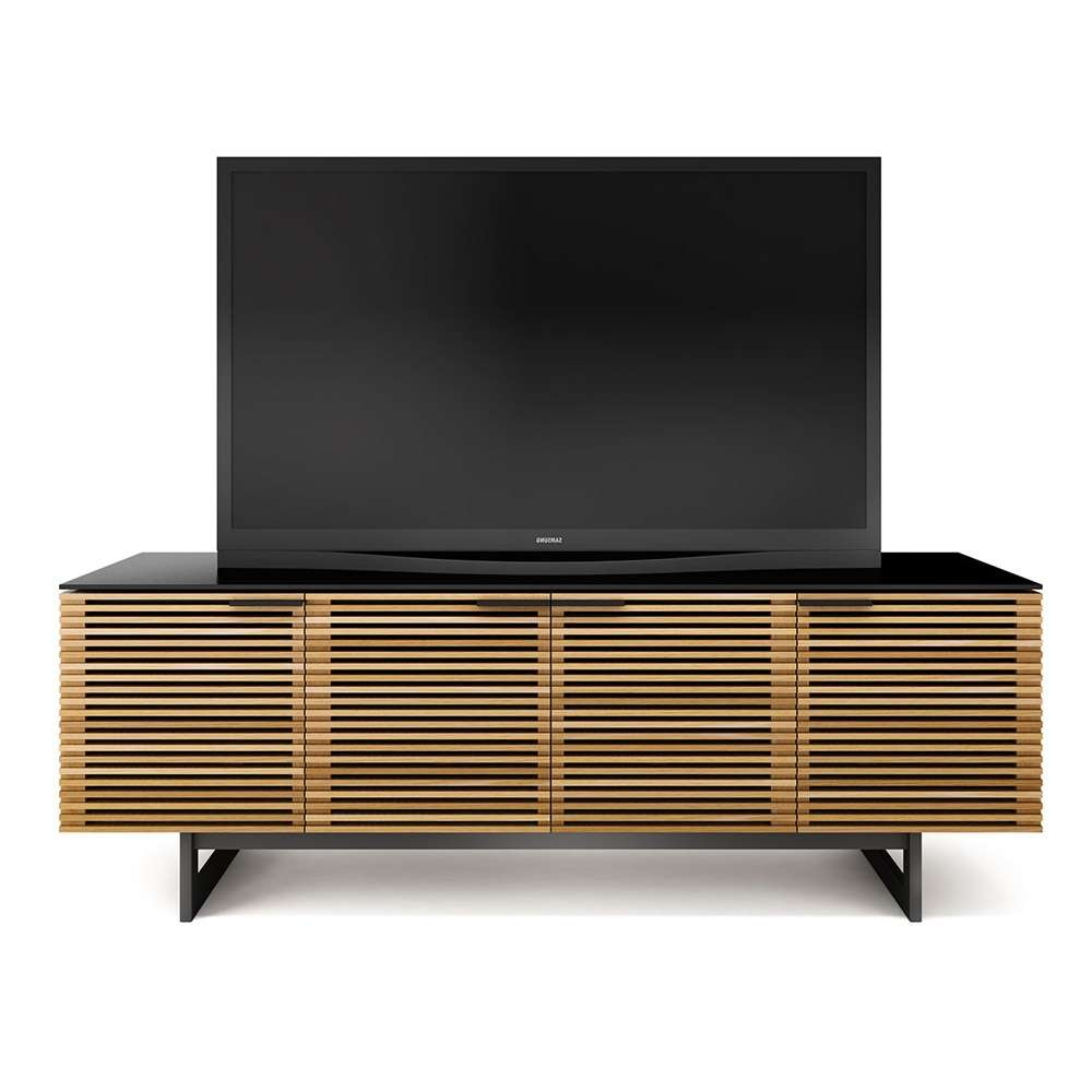 Bdi Corridor 8179 White Oak Louvred Tv Cabinet – Bdi – Audiovisual Throughout Large Oak Tv Stands (View 3 of 15)