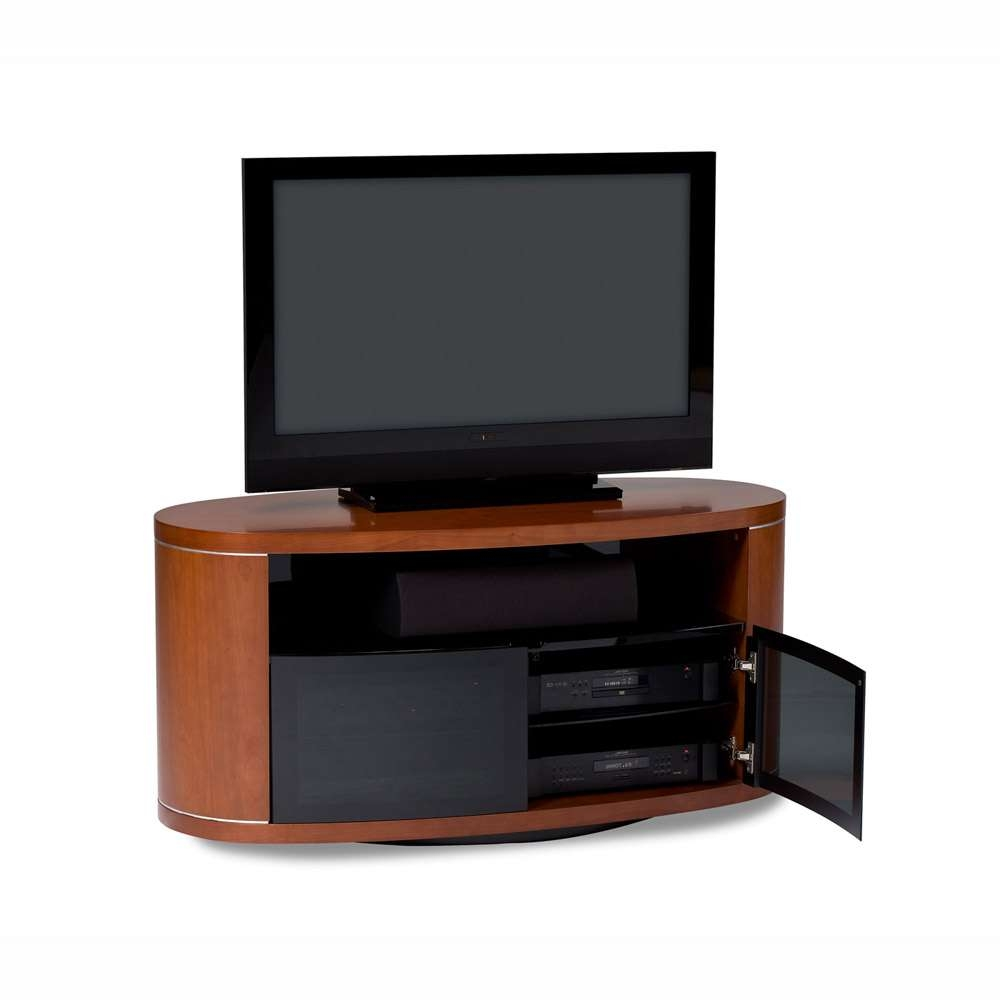 Bdi Revo 9981 Natural Cherry Oval Tv Cabinet – Wood Tv Stands Throughout Oval Tv Stands (View 2 of 20)