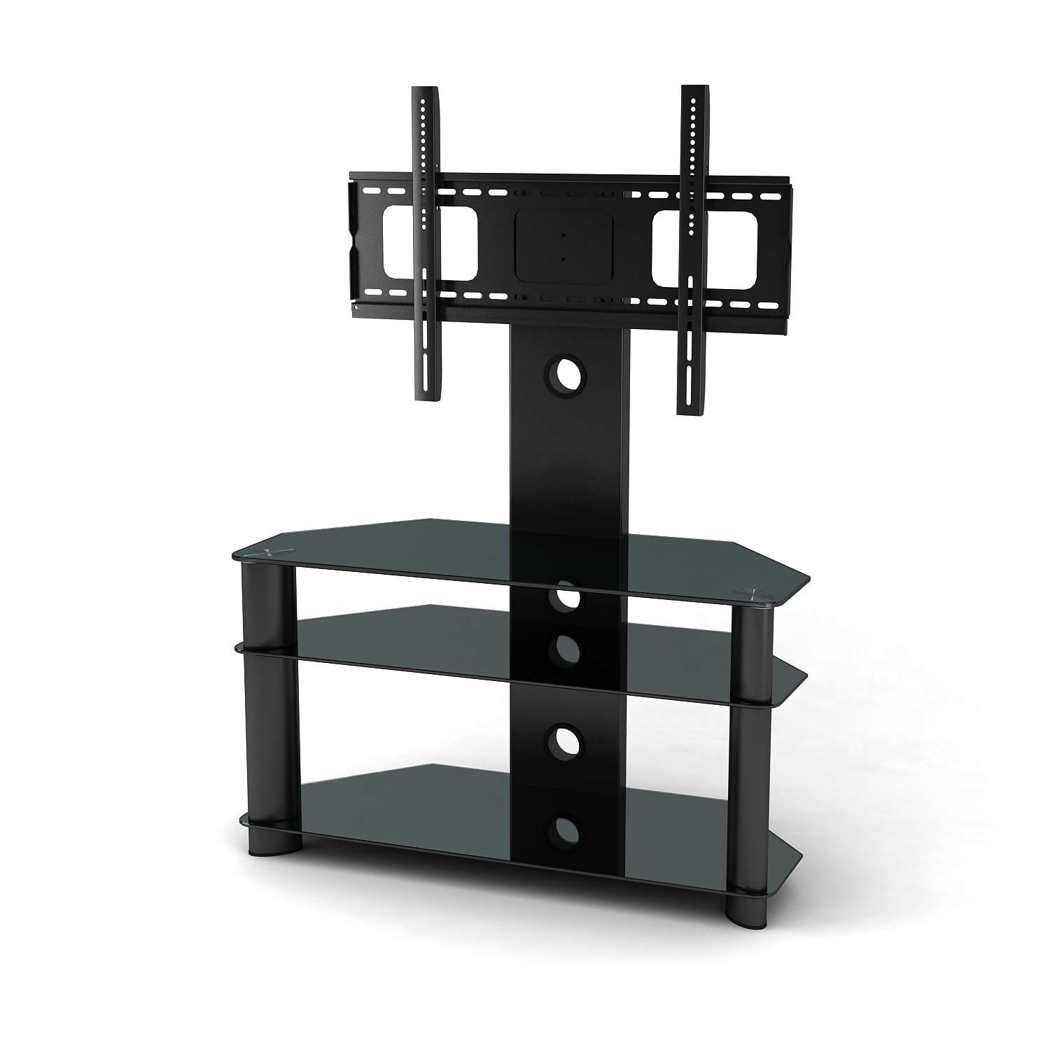 Bedroom Modern Black Tone Media Stand With Mounted Flatreen Tv Inside Corner Tv Stands With Bracket (View 4 of 20)
