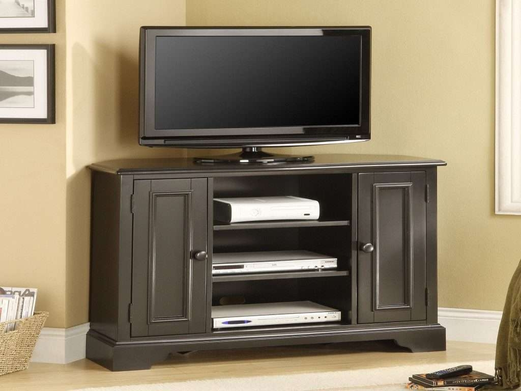 Bedroom: Tall Tv Stand For Bedroom Fresh Black Melamine Finished Within Solid Wood Black Tv Stands (View 7 of 15)