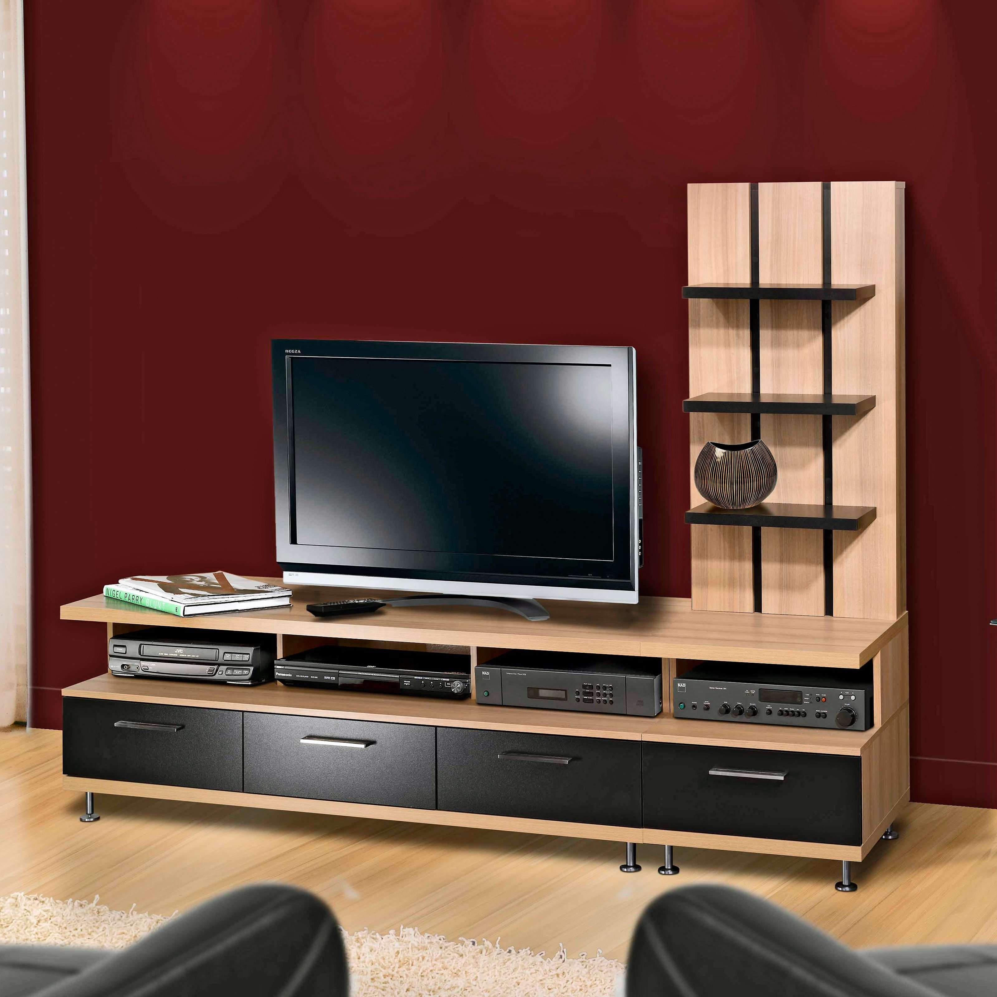 Bedrooms : Exciting Brown Laminate Wooden Modern Tv Stand Tv Intended For Red Modern Tv Stands (View 5 of 15)