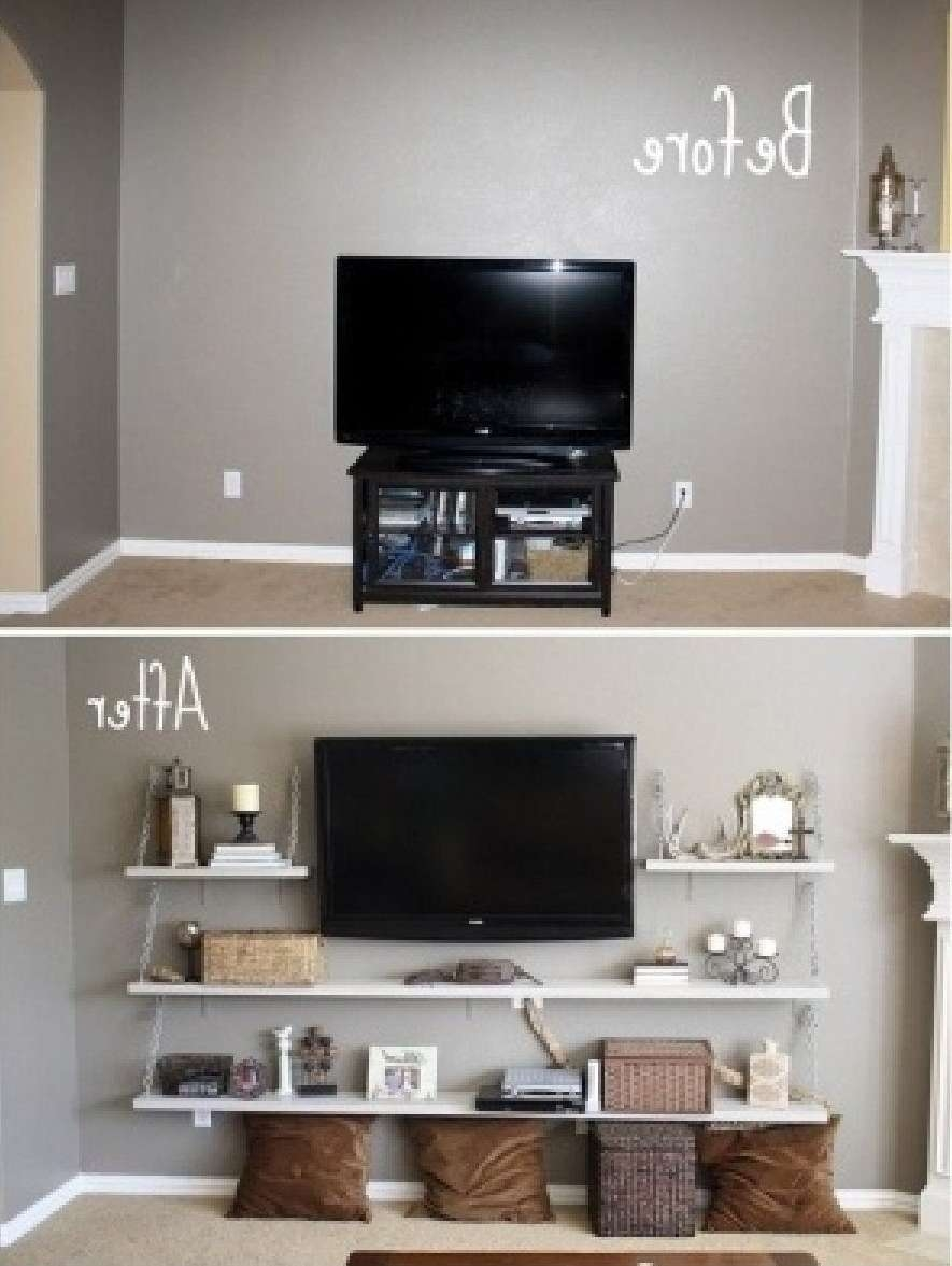 Before And After Diy Cool Remodel Tv Stands With Floating Wood Pertaining To Cool Tv Stands (View 3 of 15)