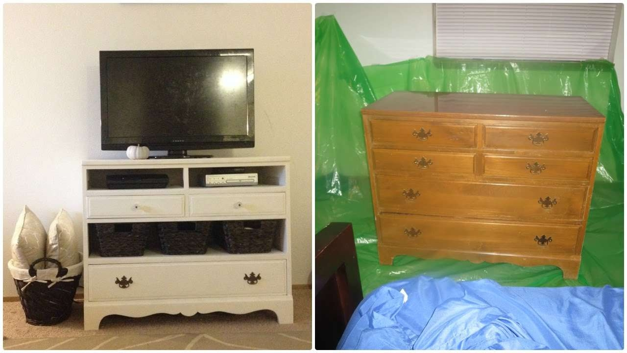 Before And After Dresser Makeover Design Turned Into Tv Stand With For Tv Stands With Storage Baskets (View 9 of 15)