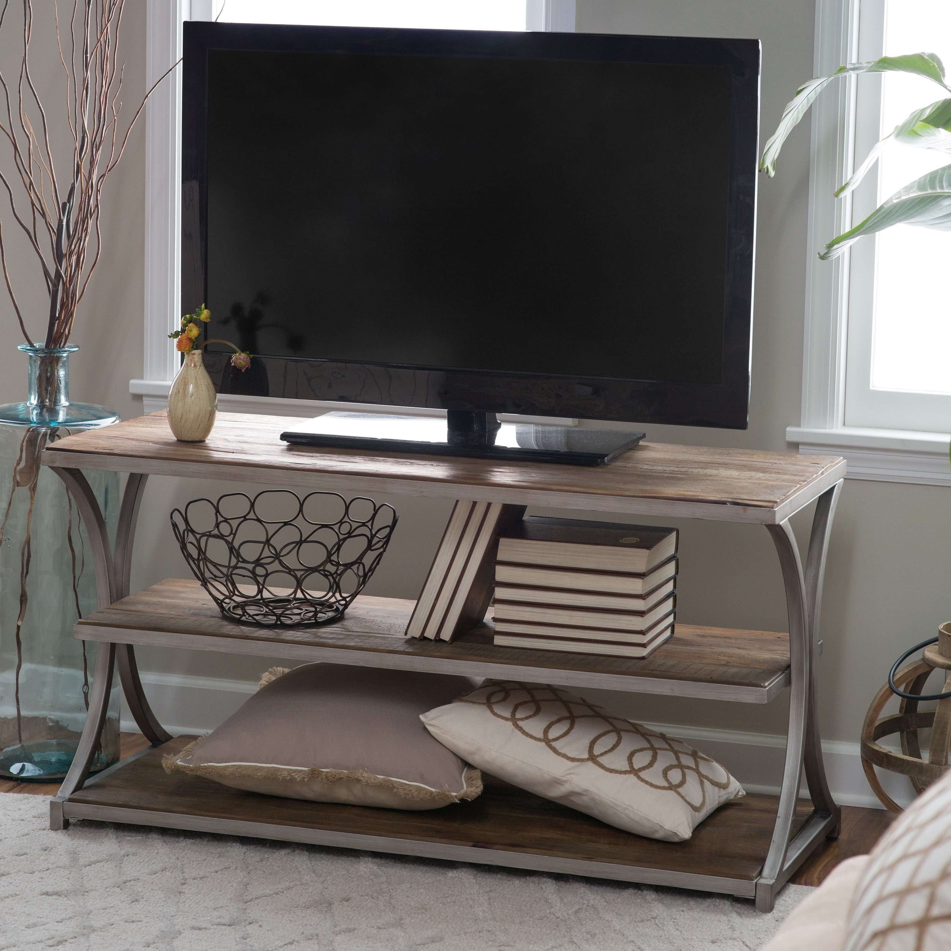 Belham Living Edison Reclaimed Wood Tv Stand | Hayneedle In Metal And Wood Tv Stands (View 2 of 15)