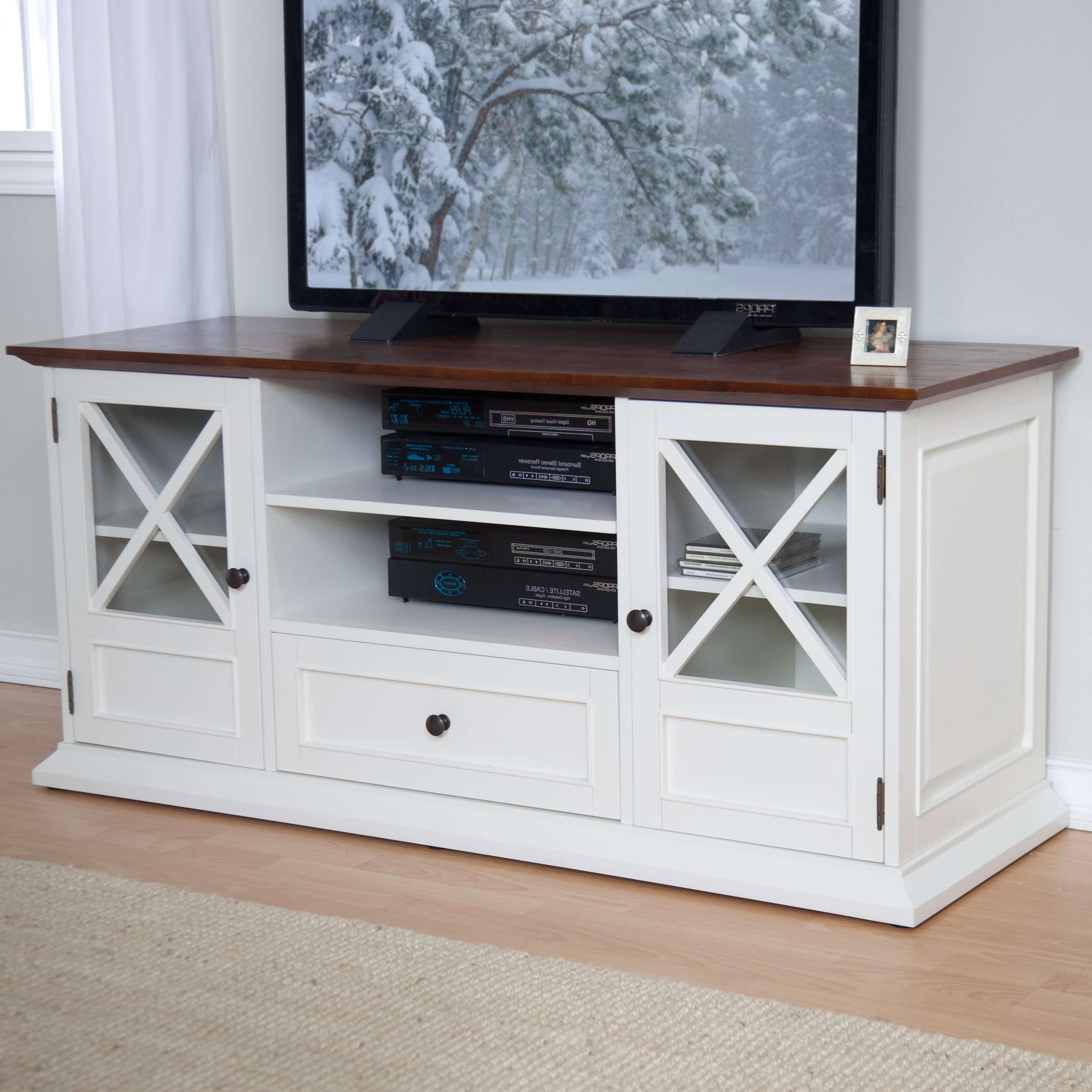 Belham Living Hampton Console Table 2 Shelf Bookcase – White/oak Throughout Grey Wood Tv Stands (View 11 of 15)