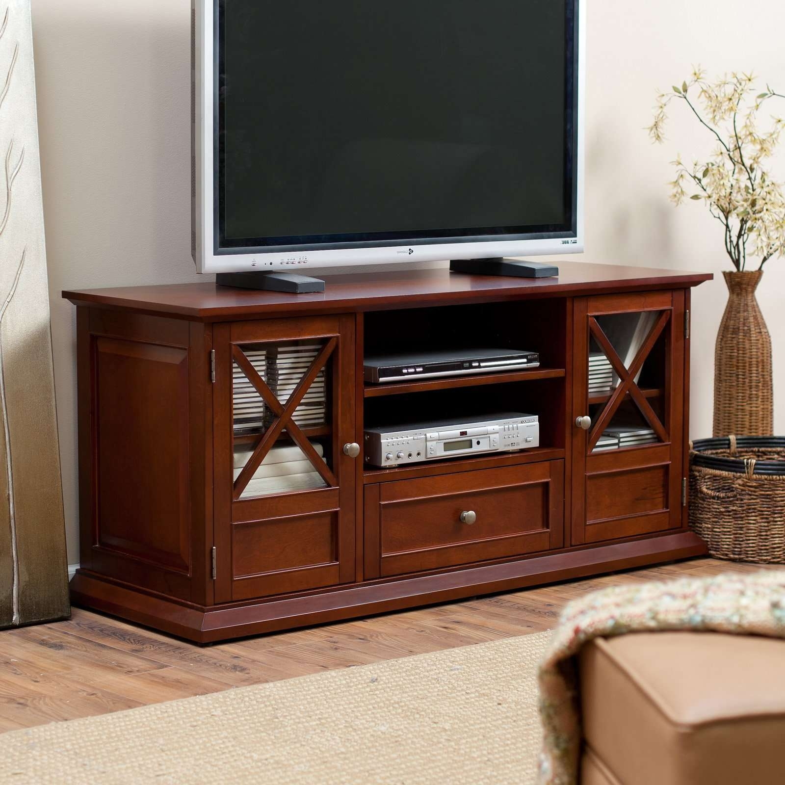 Belham Living Hampton Tv Stand Bookcase – Cherry | Hayneedle In Cherry Tv Stands (View 3 of 15)