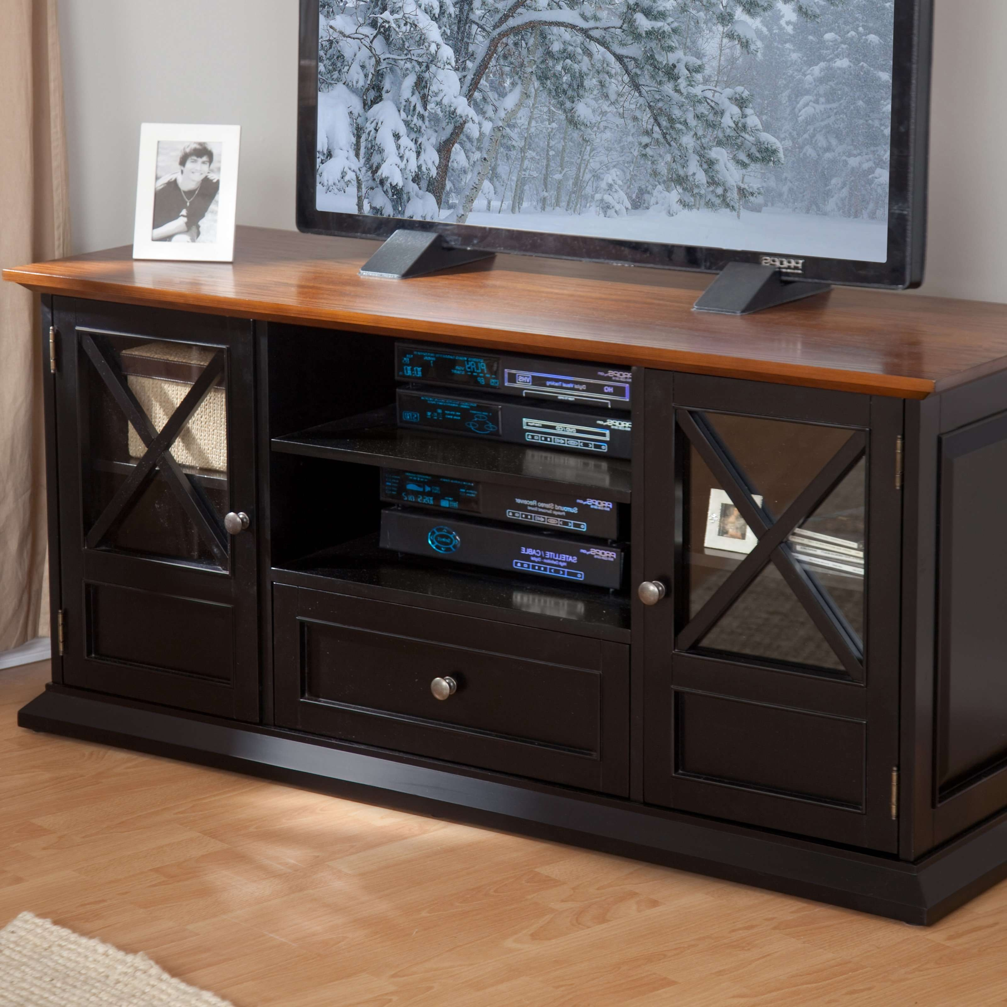 Belham Living Hampton Tv Stand – White/oak | Hayneedle Intended For Tv Stands For 55 Inch Tv (View 2 of 15)