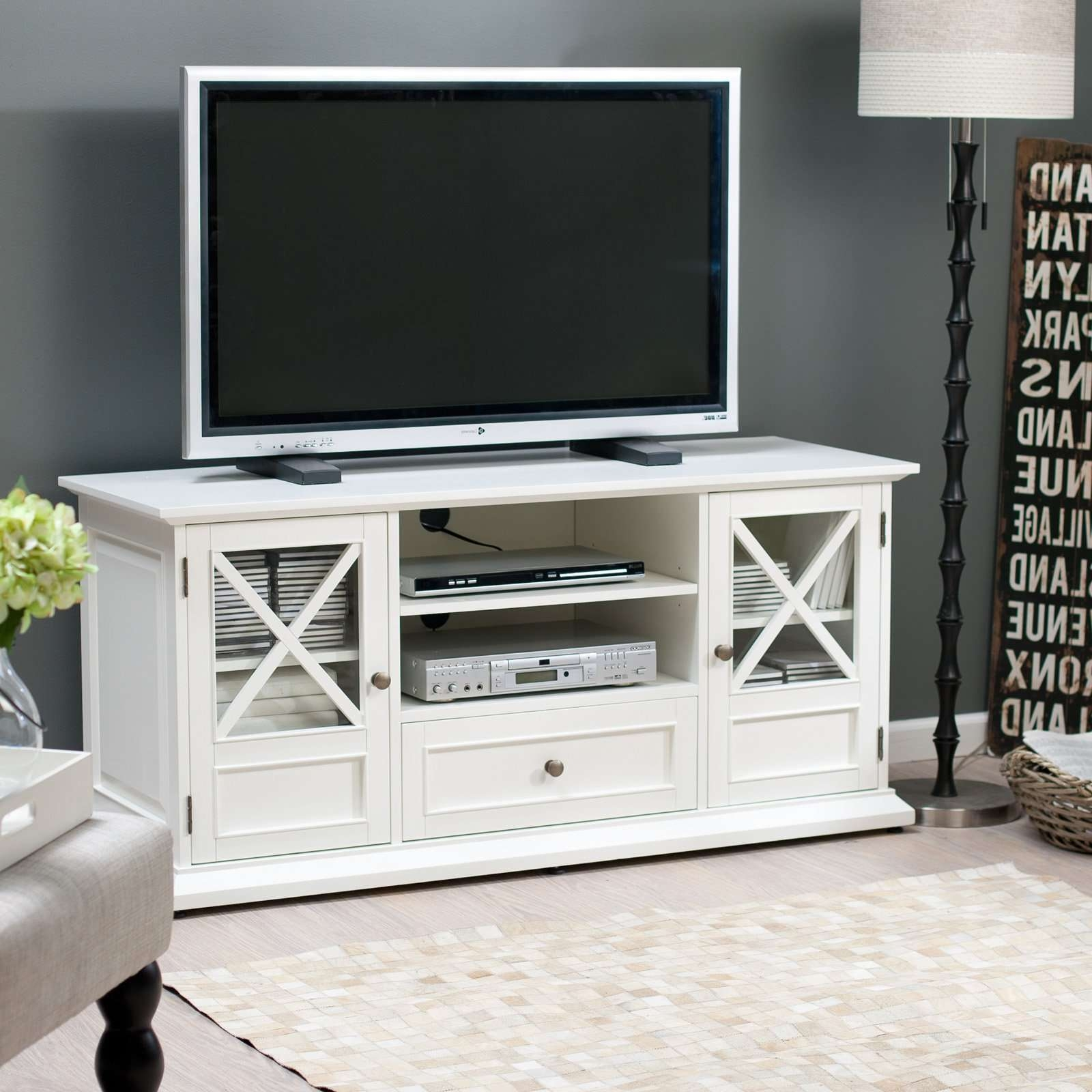Belham Living Hampton Tv Stand – White – Walmart In White Tv Stands (View 3 of 15)