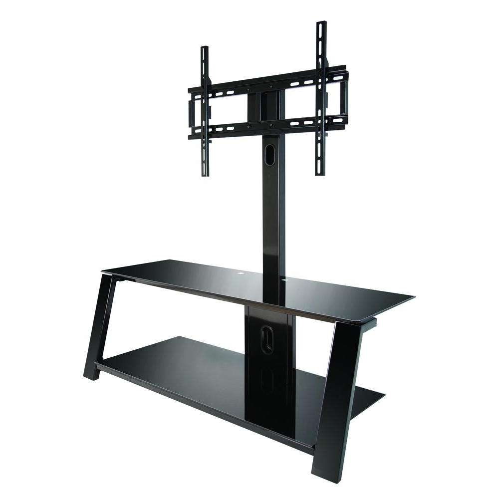 Bell'o Black Swivel Mount Entertainment Center Tp4444 – The Home Depot Regarding Tv Stands Swivel Mount (View 3 of 15)