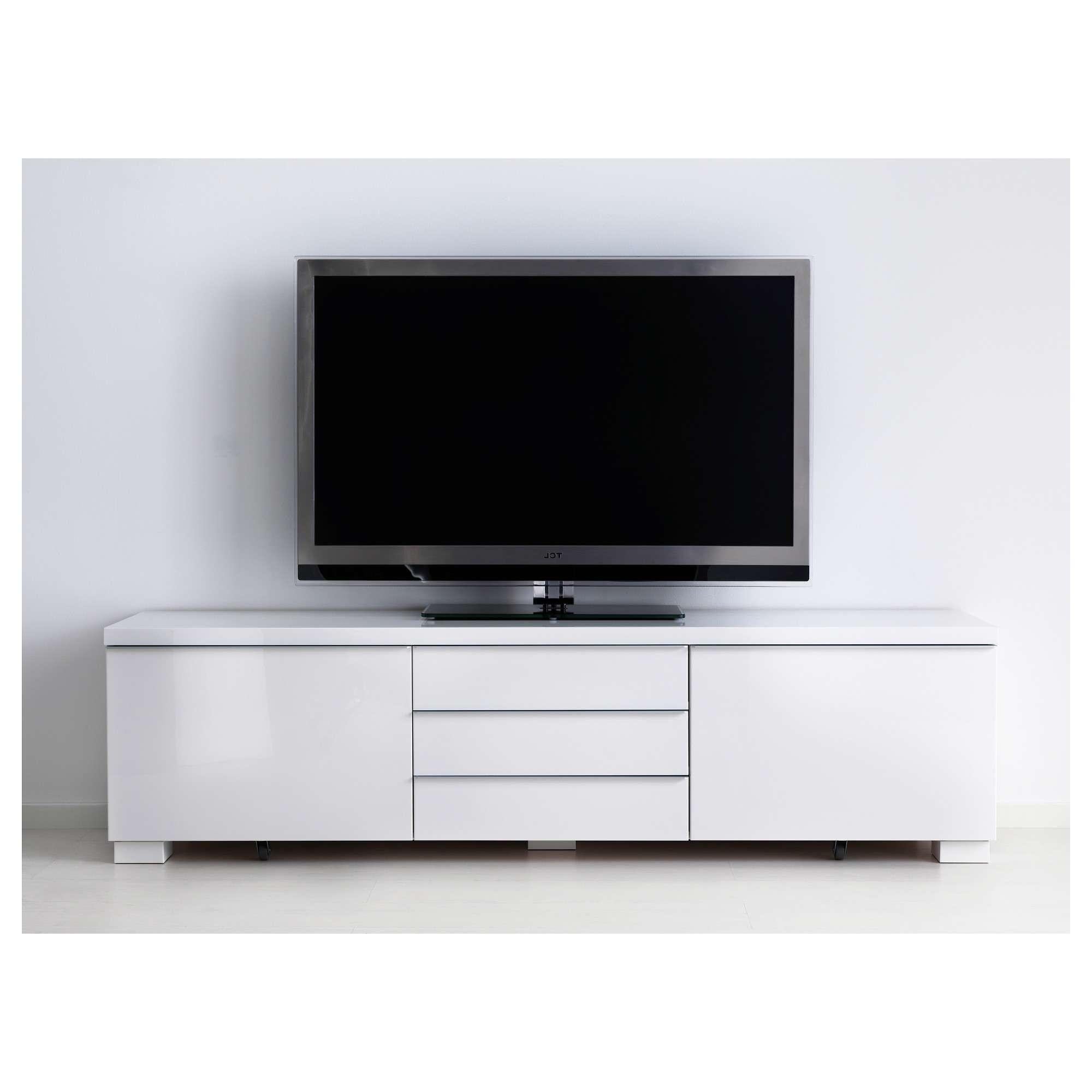 Bestå Burs Tv Bench High Gloss White 180x41 Cm – Ikea For White Tv Cabinets (View 3 of 20)