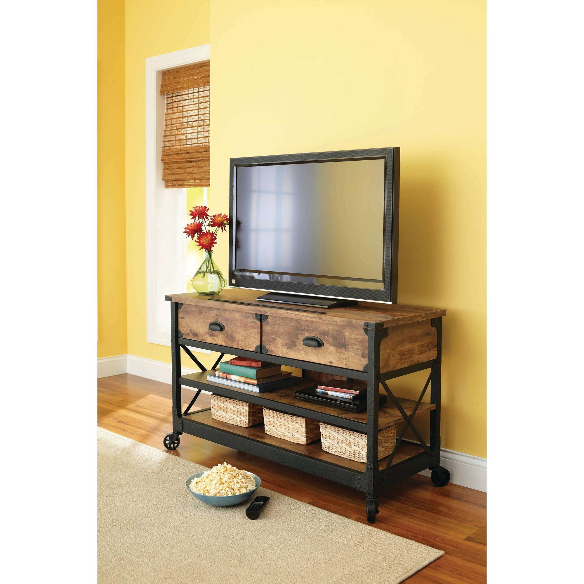 Better Homes And Gardens Rustic Country Antiqued Black/pine Panel Regarding Corner Tv Stands With Drawers (View 1 of 15)