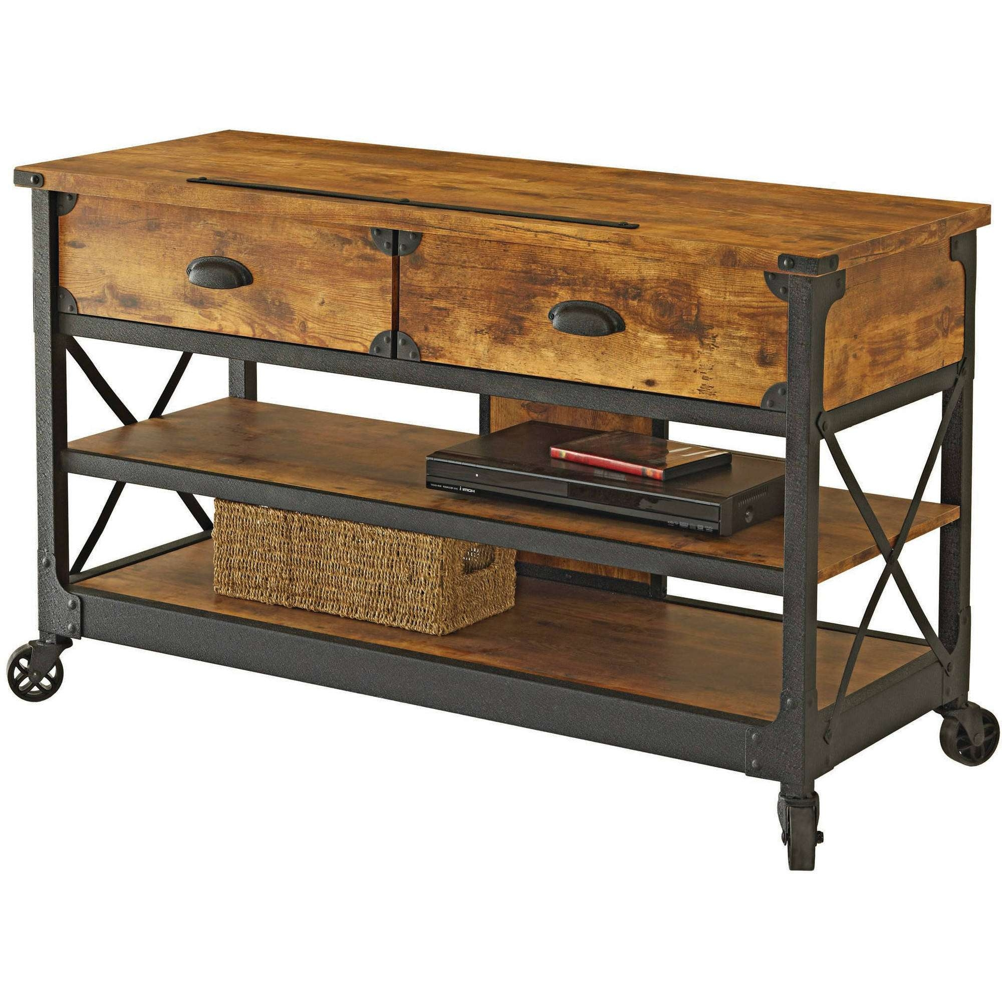 Better Homes And Gardens Rustic Country Antiqued Black/pine Panel With Rustic Tv Stands (View 8 of 15)