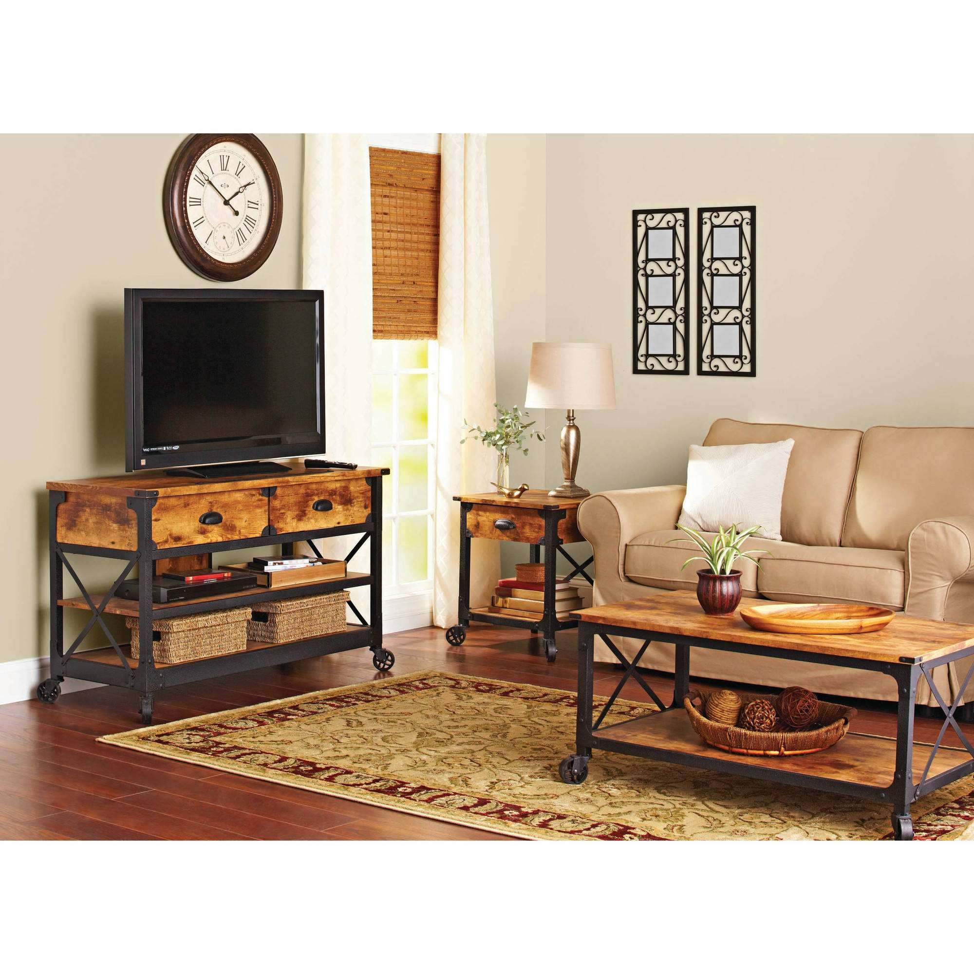Better Homes And Gardens Rustic Country Living Room Set – Walmart In Rustic Looking Tv Stands (View 2 of 20)