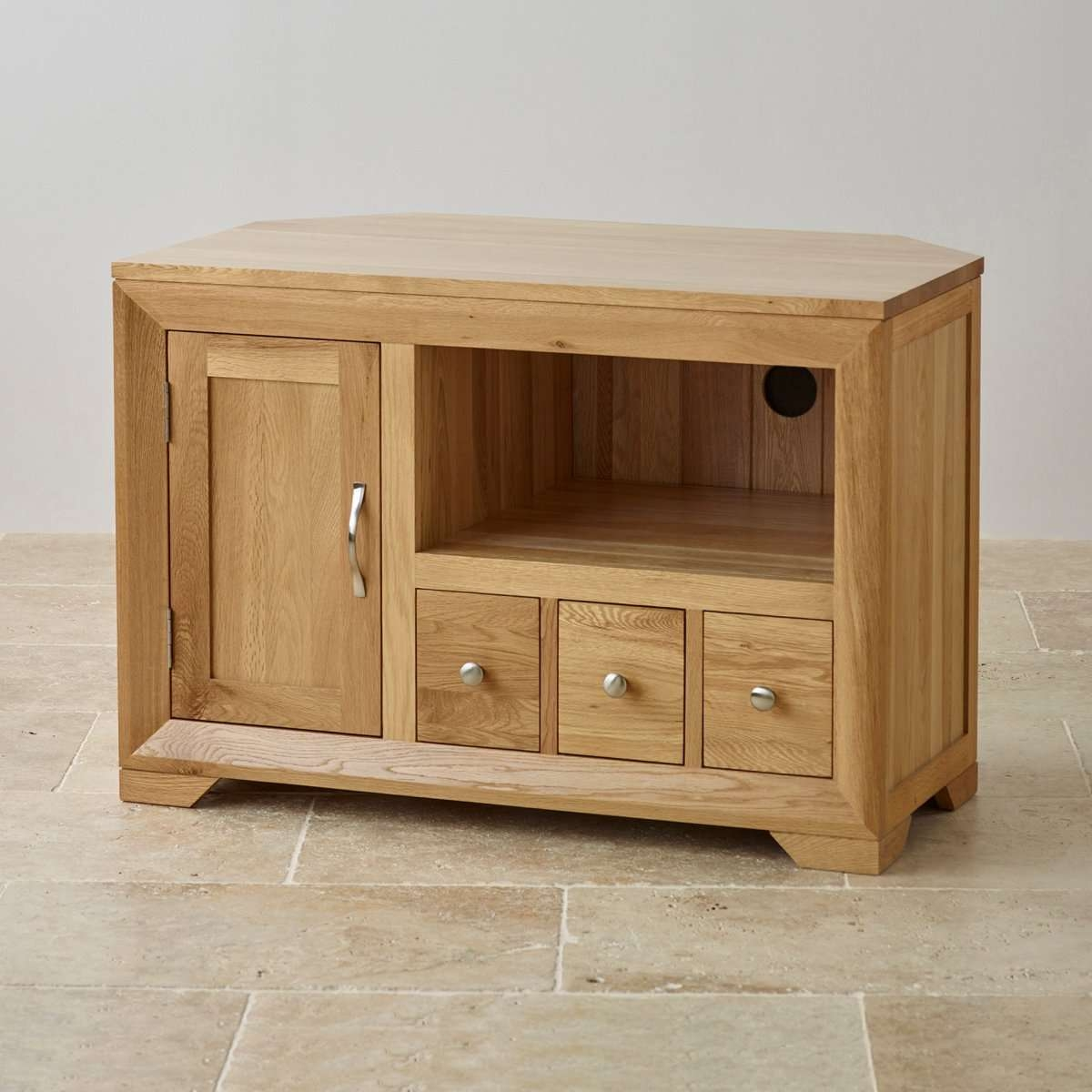 Bevel Small Corner Tv Cabinet In Solid Oak | Oak Furniture Land Within Solid Oak Corner Tv Cabinets (View 2 of 20)