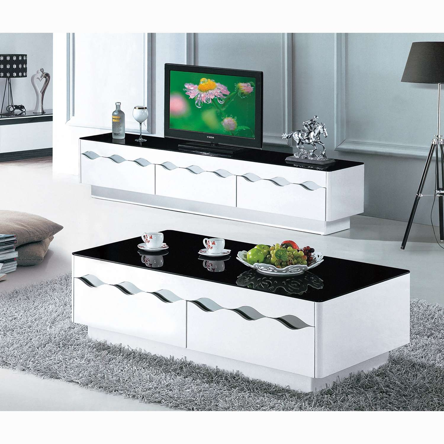 Black And White Paint Glass Coffee Table Living Room Furniture Tv Within White Painted Tv Cabinets (View 17 of 20)