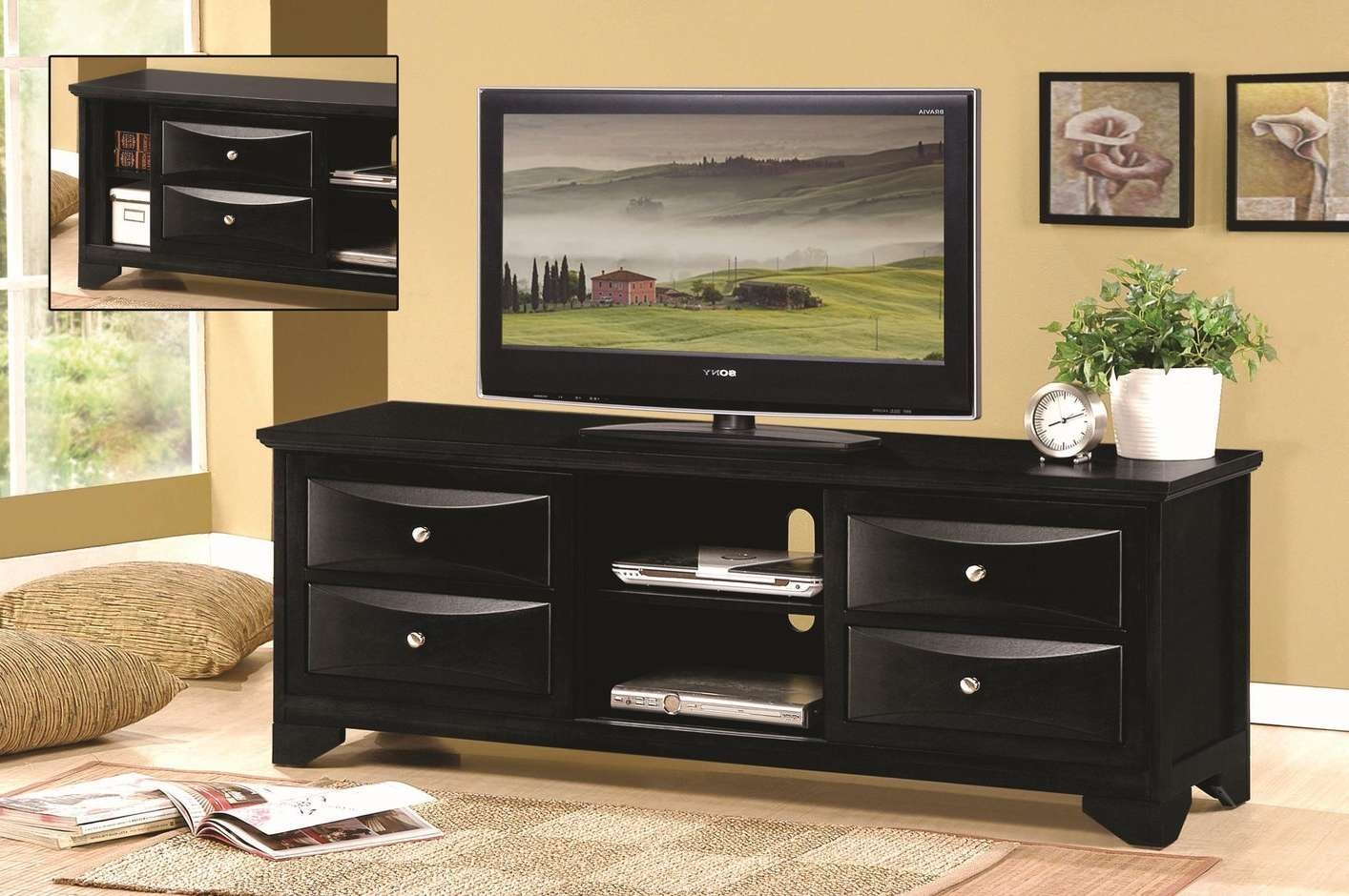 Black Corner Solid Wood Tv Stand Tags : 40 Striking Black Wood Tv For Solid Wood Black Tv Stands (View 2 of 15)
