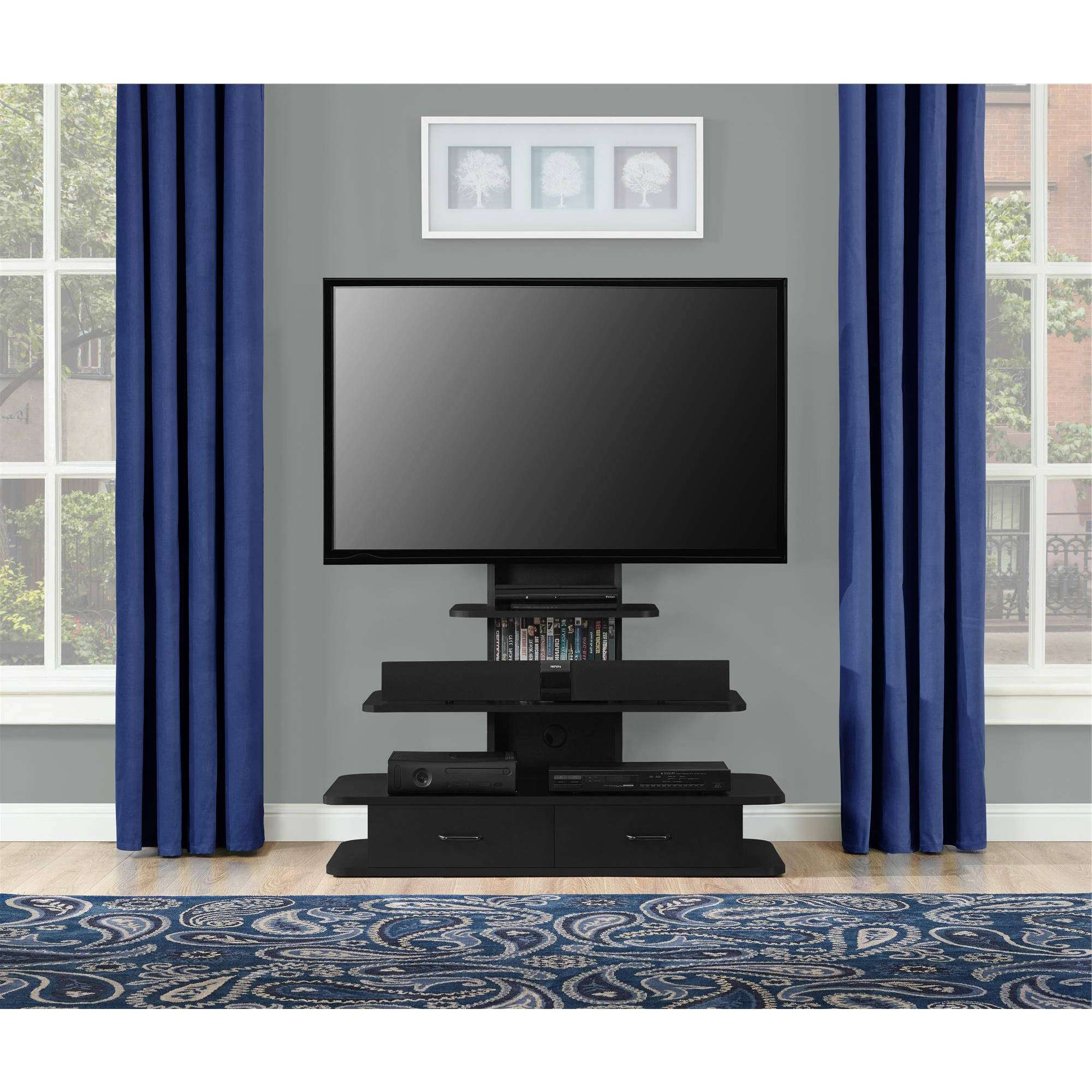 Black Freestanding Tv Stand With Mount And Drawers Of Cool Tv Within Freestanding Tv Stands (View 6 of 15)