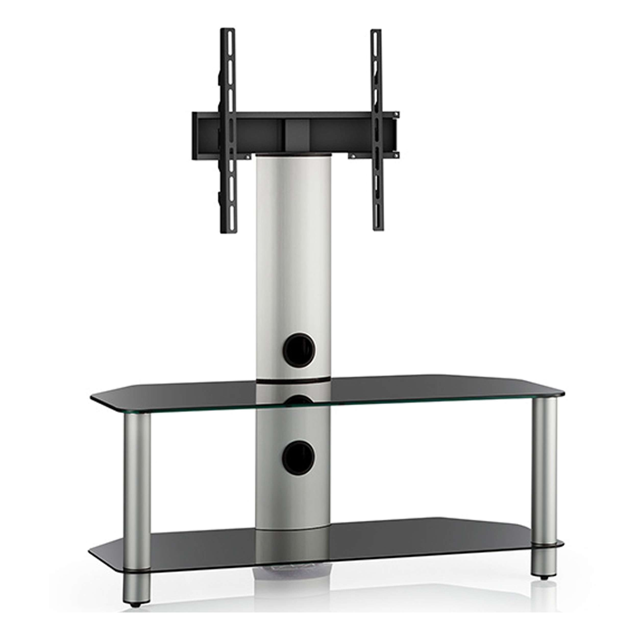 Black Glass 2 Shelf Tv Corner Stand With Bracket Throughout Corner Tv Stands With Bracket (View 8 of 20)