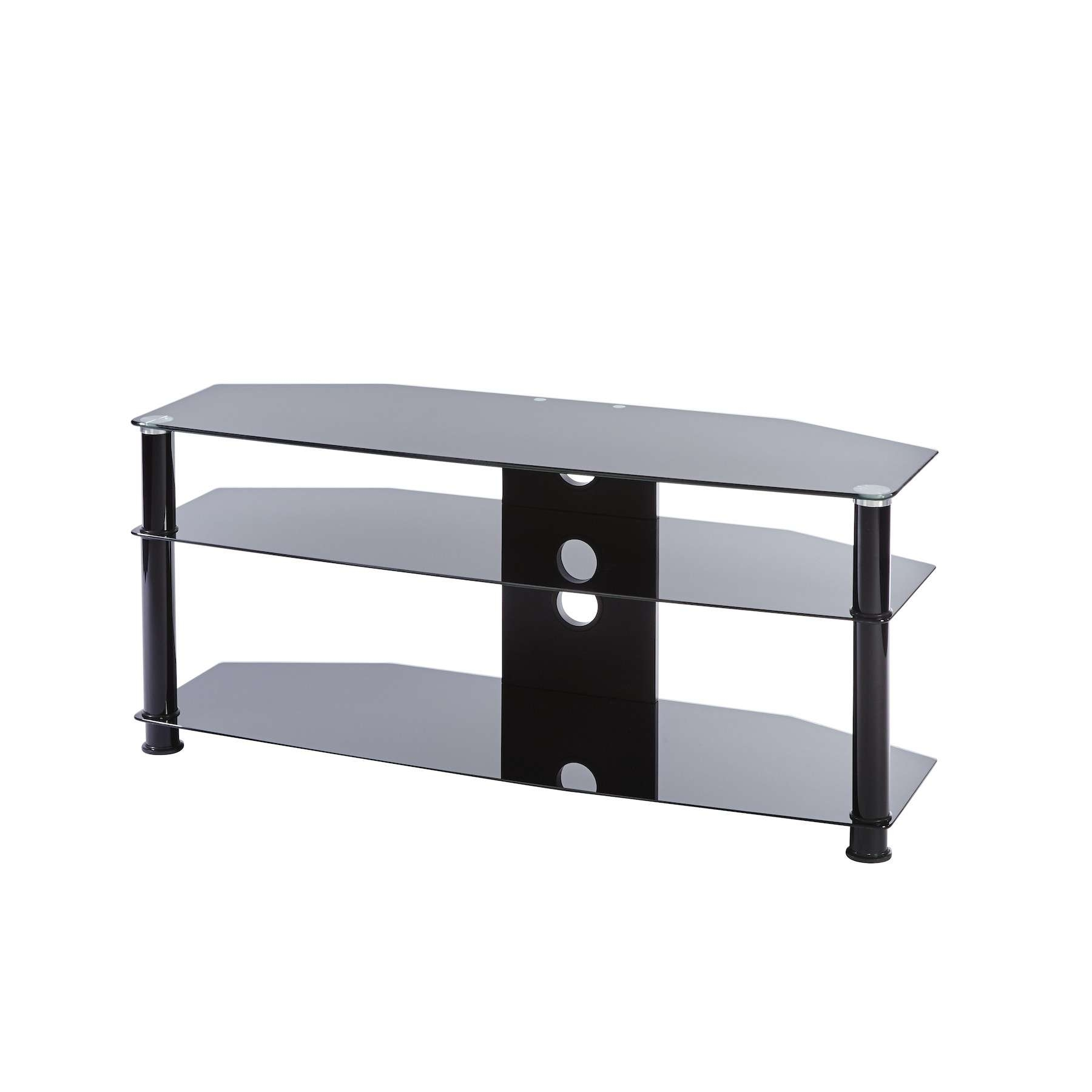 Black Glass 3 Shelf Tv Corner Stand Up To 47 Inch Tv | Mmt Db1000 Regarding Black Glass Tv Stands (View 4 of 15)