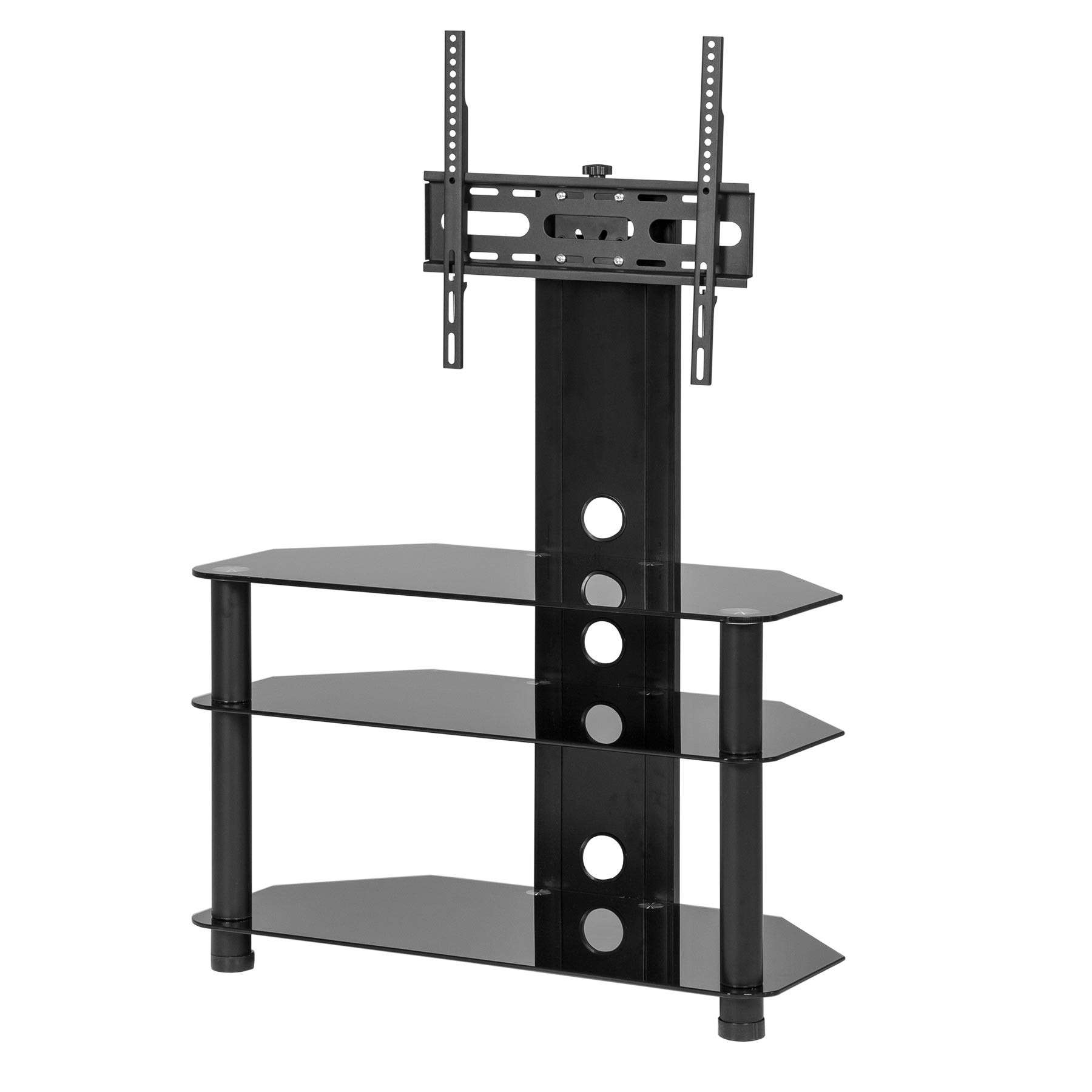 Black Glass Cantilever Stand For Up To 50 Inch Tv | Mmt In White Cantilever Tv Stands (View 14 of 20)