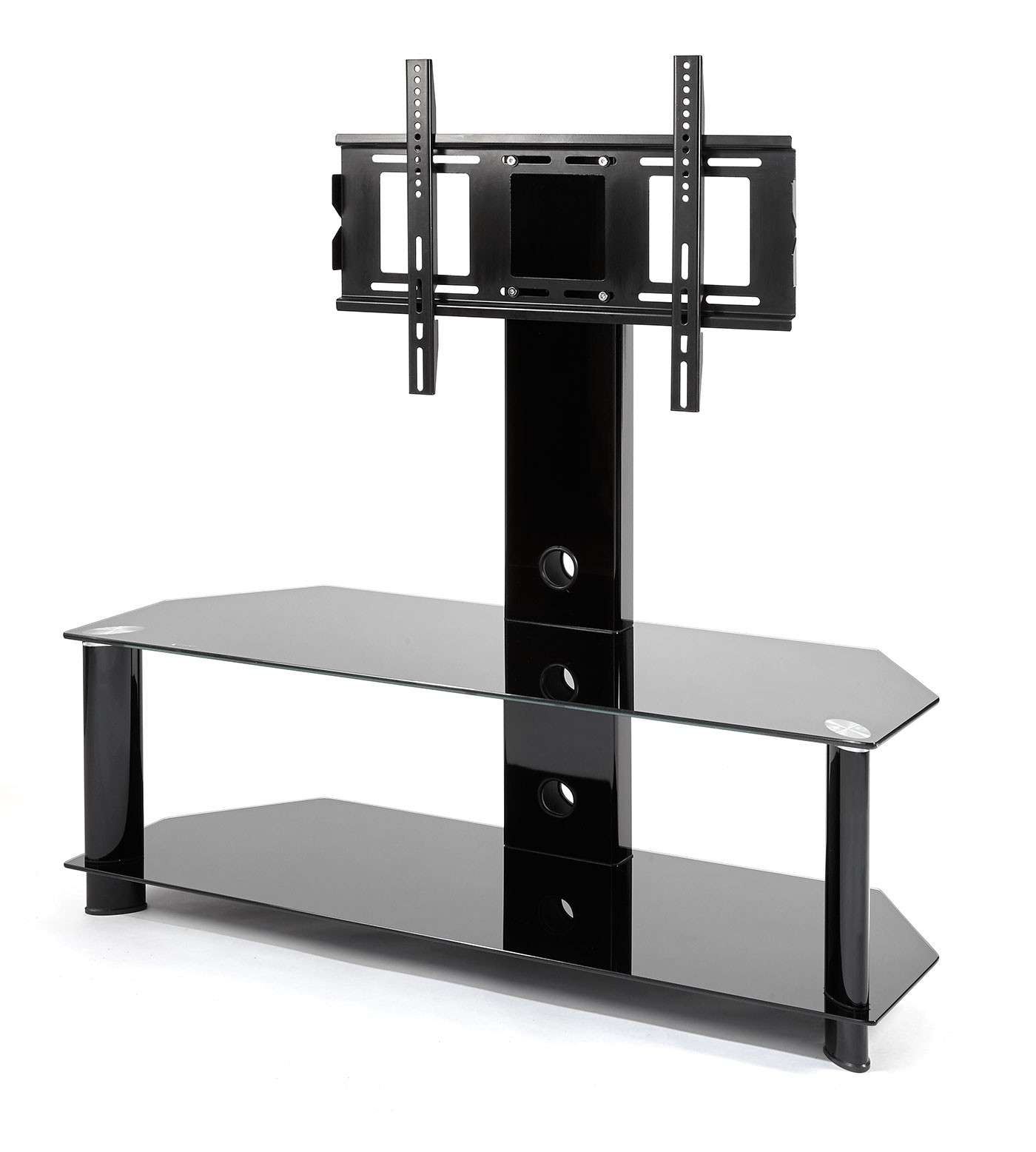 Black Glass Cantilever Tv Stand | Mmt Cb110/2 Throughout Cantilever Tv Stands (View 15 of 15)