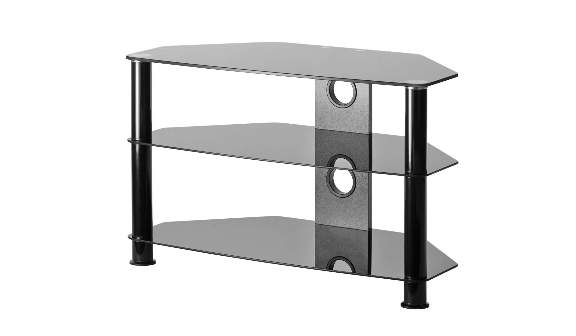 Black Glass Corner Tv Stand Up To 37 Inch Tv | Mmt Db800 Intended For Corner Tv Stands With Bracket (View 4 of 20)
