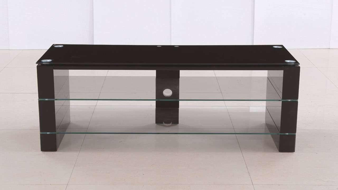 Black Glass High Gloss Tv Stand Unit – Homegenies Pertaining To Tv Stands Black Gloss (View 1 of 15)