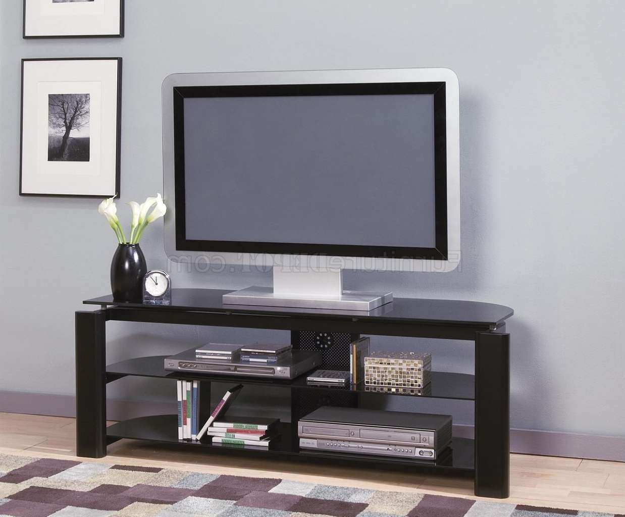 Black Glass & Metal Modern Tv Stand W/storage Shelves Within Modern Glass Tv Stands (View 2 of 15)