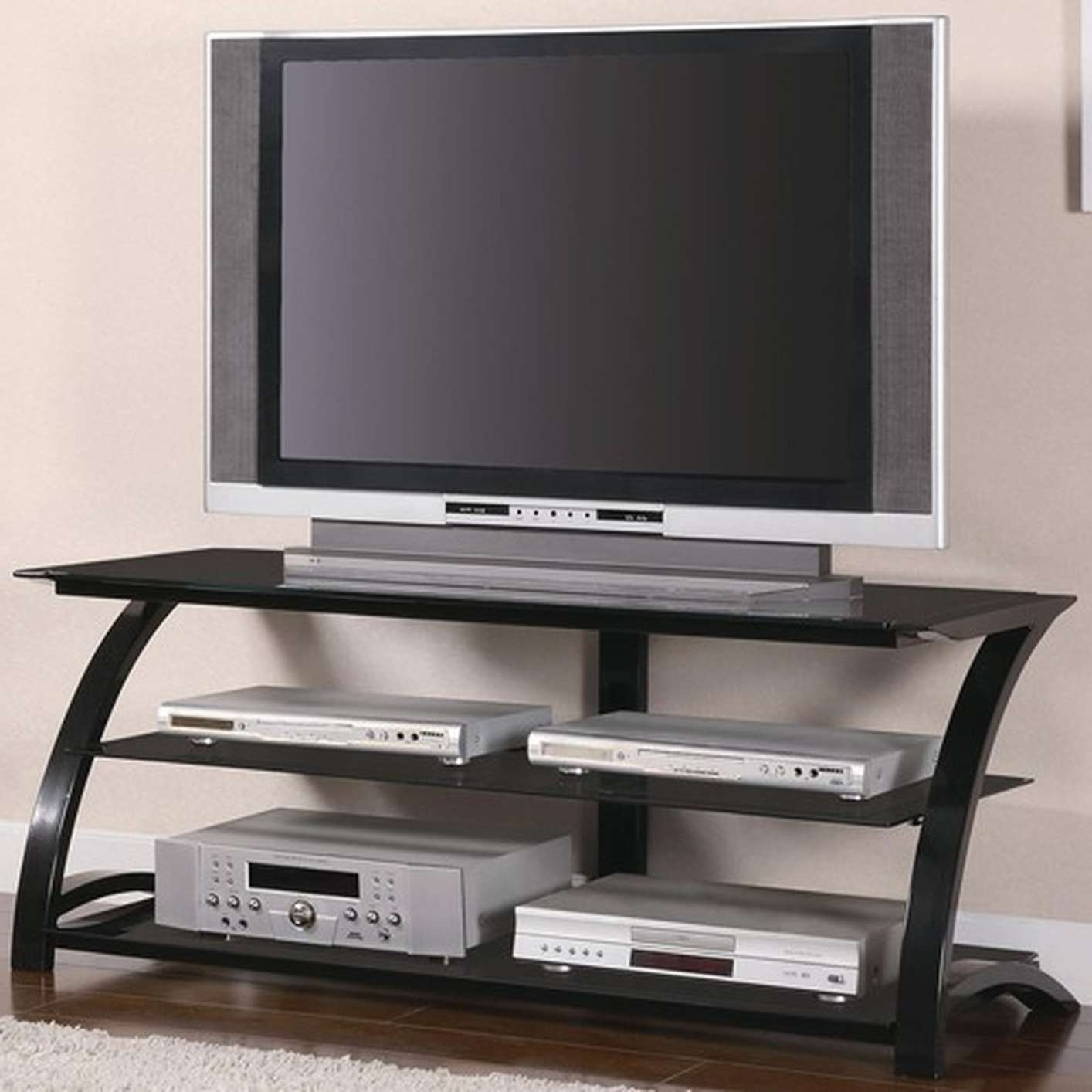 Black Glass Tv Stand – Steal A Sofa Furniture Outlet Los Angeles Ca Regarding Glass Tv Stands (View 3 of 15)
