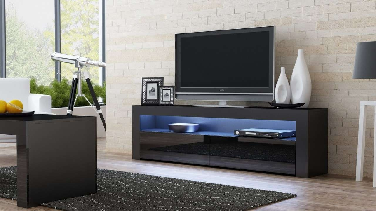 Black Gloss Tv Stand – Milano 157 – Concept Muebles Inside Milano Tv Stands (View 6 of 20)